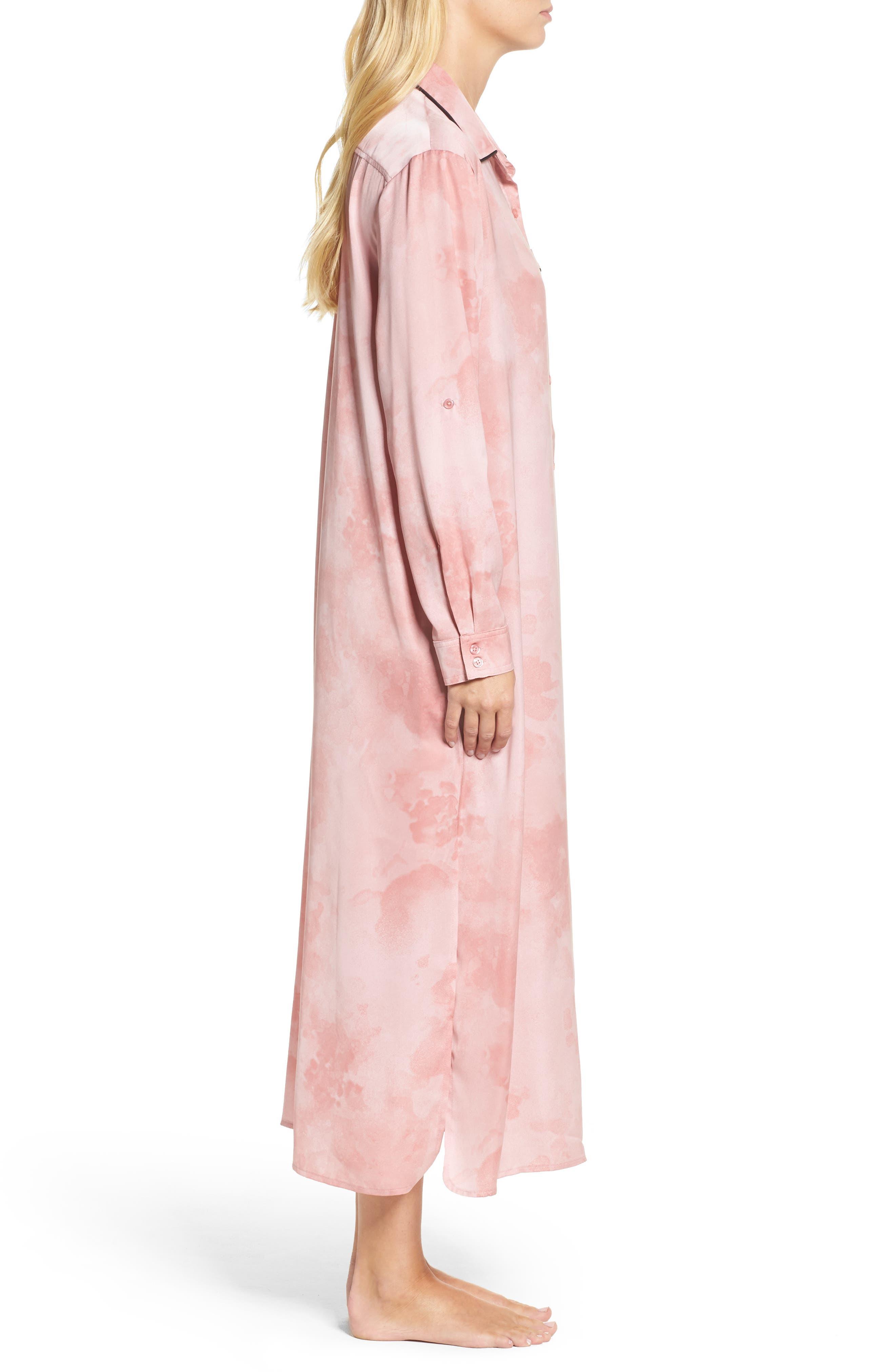 Washed Satin Maxi Sleep Shirt,                             Alternate thumbnail 3, color,                             Pink Floral