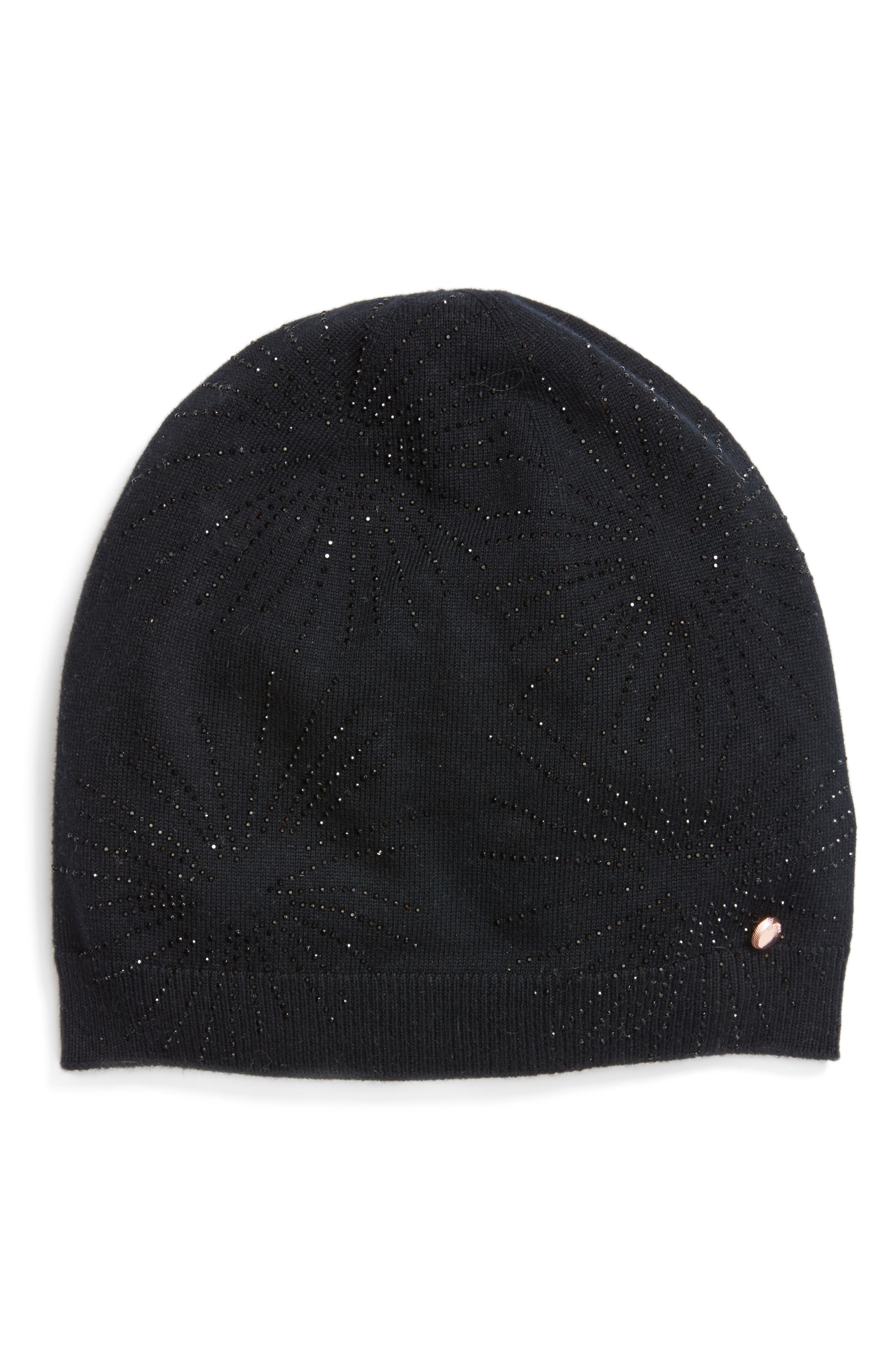 Stardust Embellished Knit Beanie,                         Main,                         color, Black