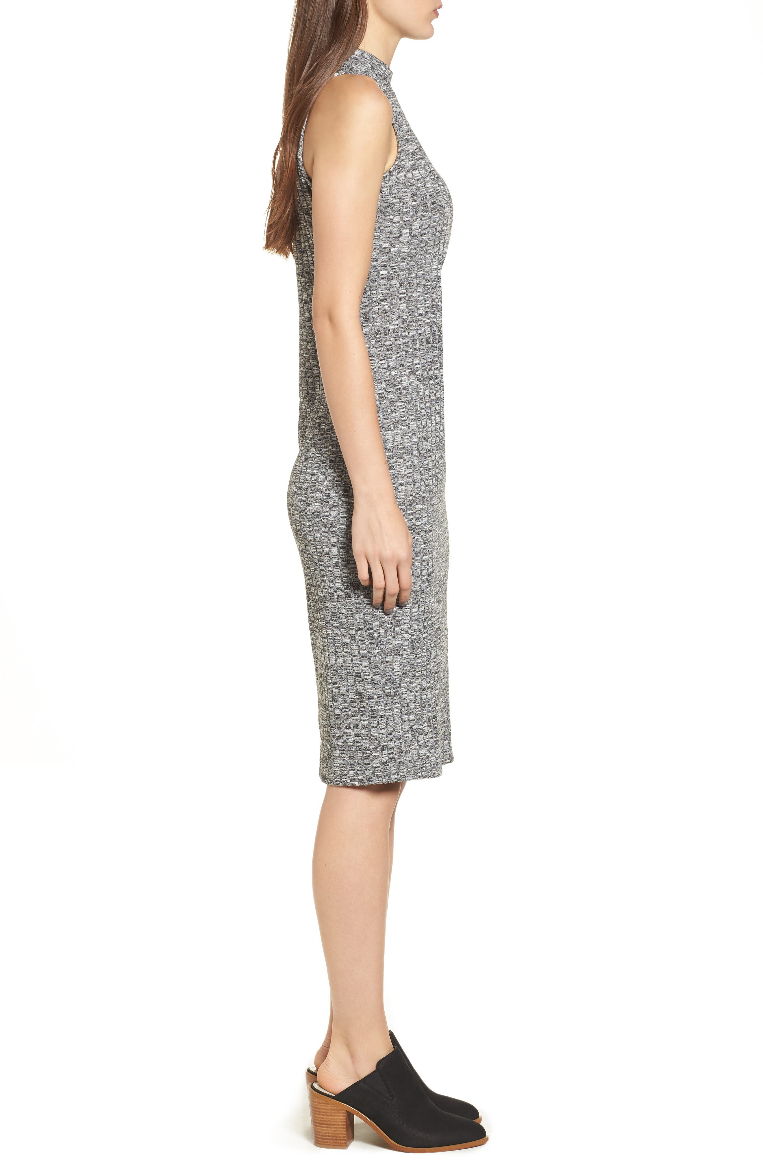 Rib Knit Midi Dress,                             Alternate thumbnail 3, color,                             Grey