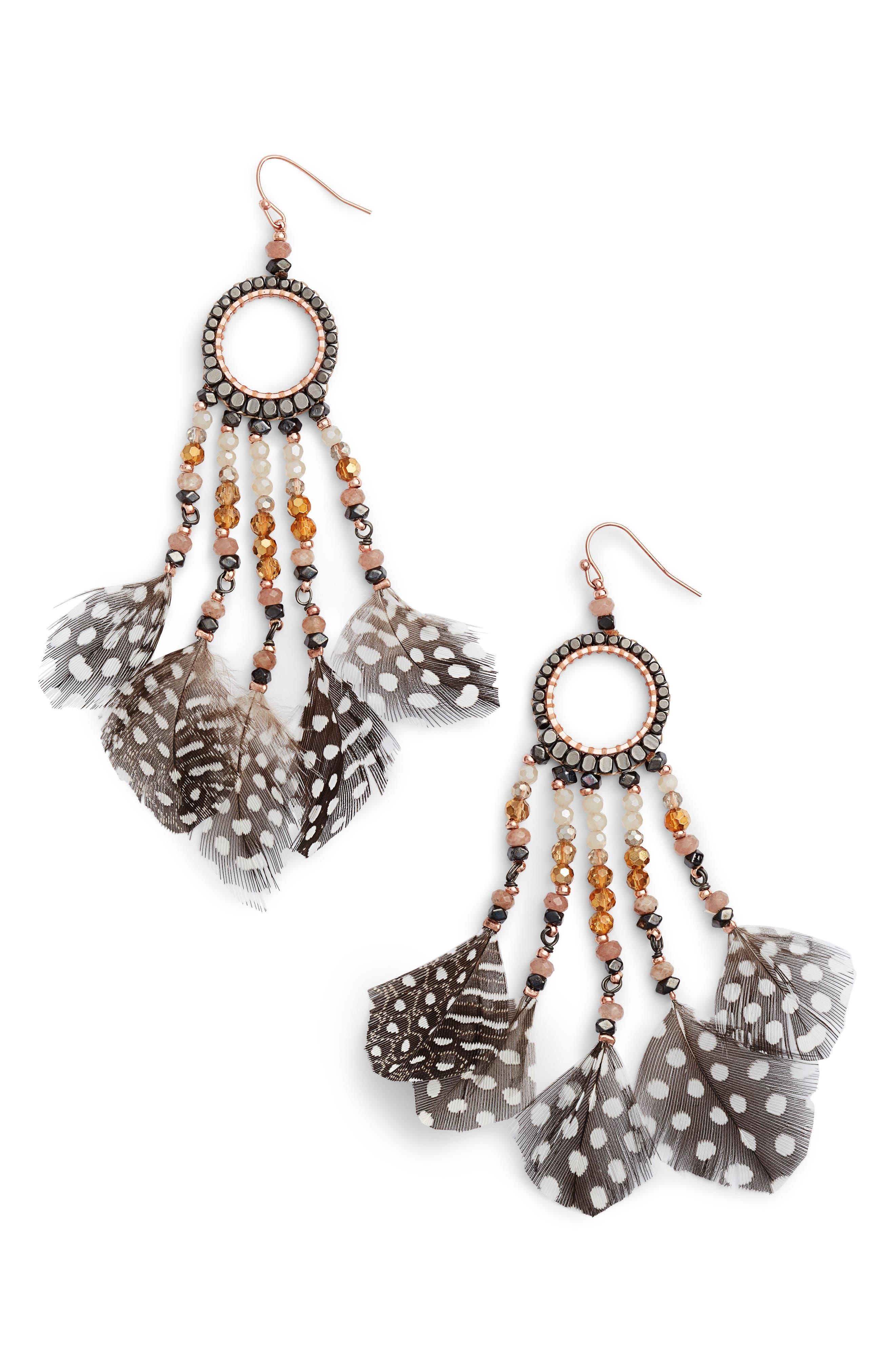 Nakamol Design Multi-Feather Drop Earrings