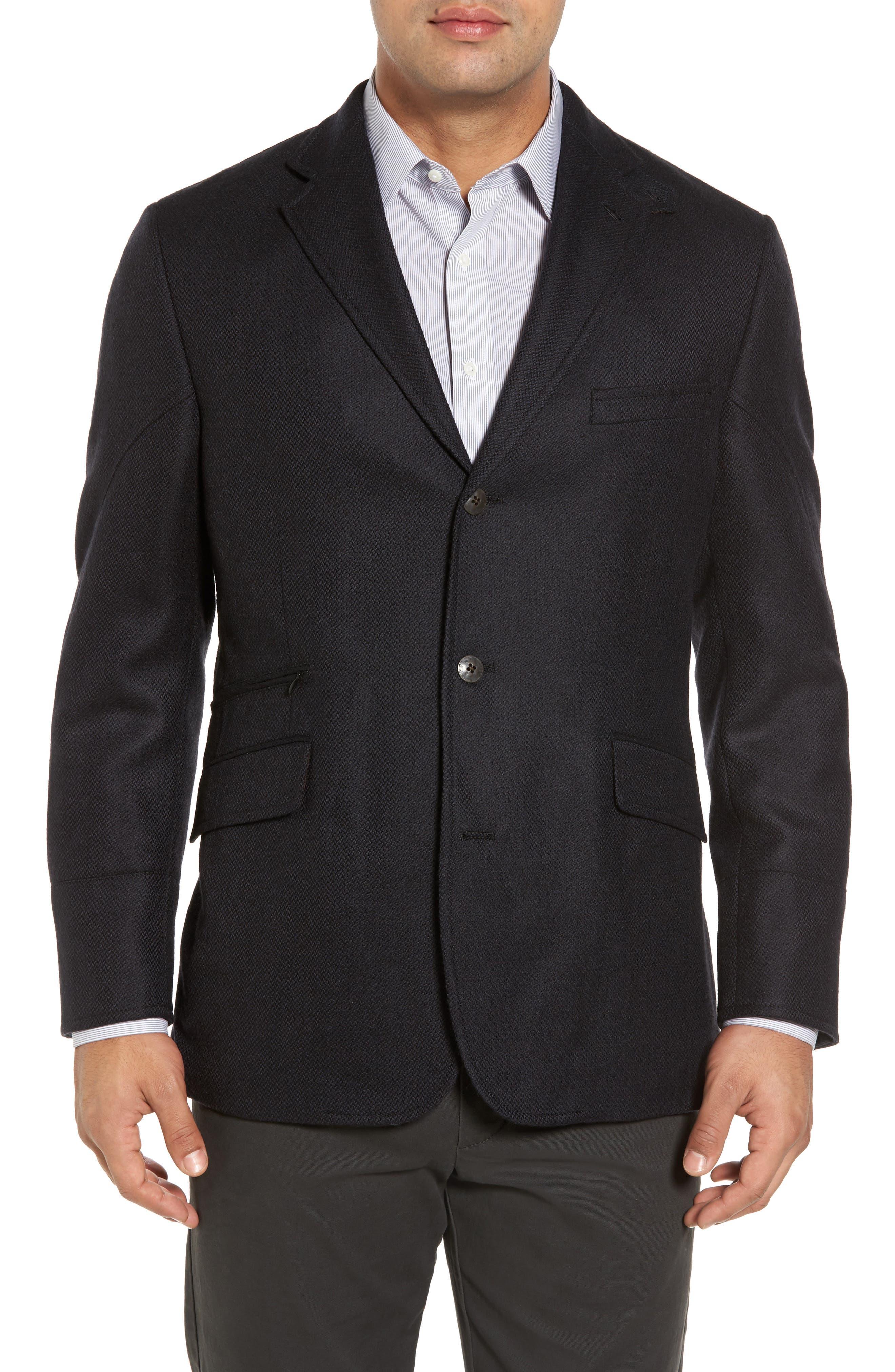 Ritchie Aim Hybrid Classic Fit Wool & Cashmere Sport Coat,                             Alternate thumbnail 4, color,                             Black