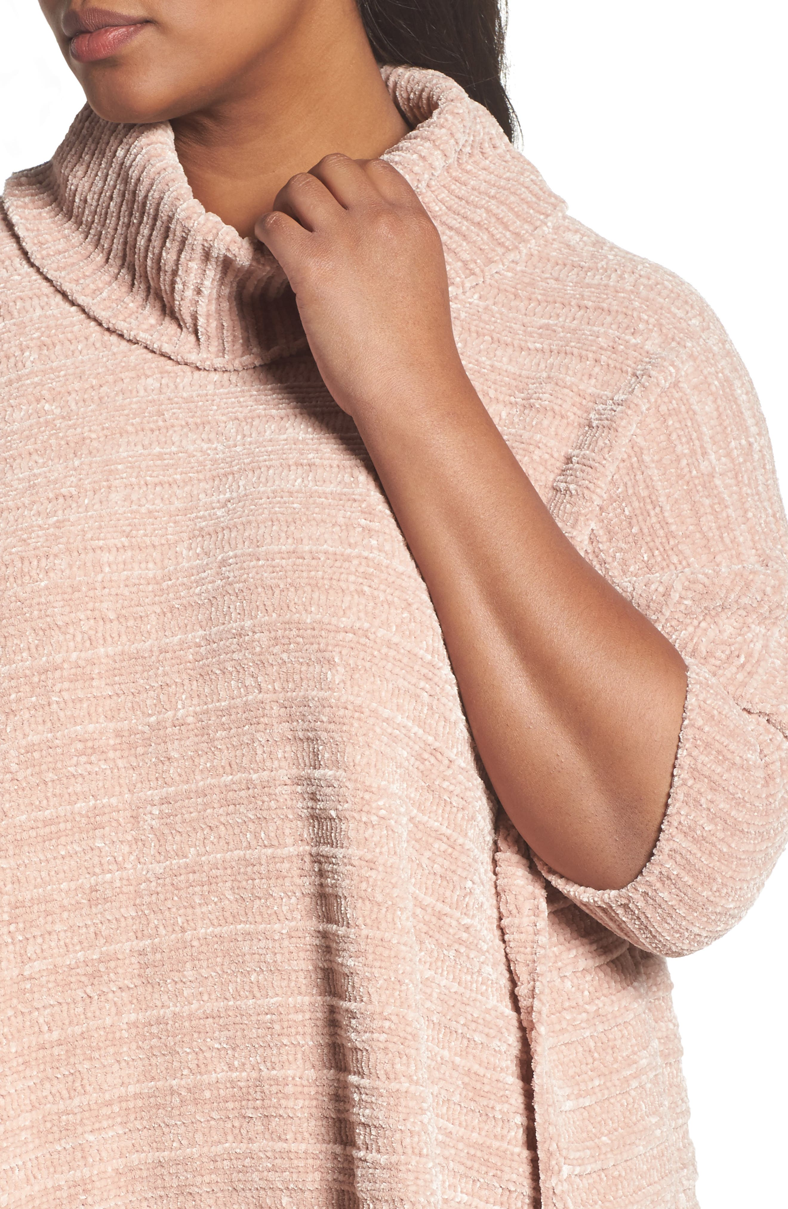 Chenille Poncho,                             Alternate thumbnail 4, color,                             Pink Adobe