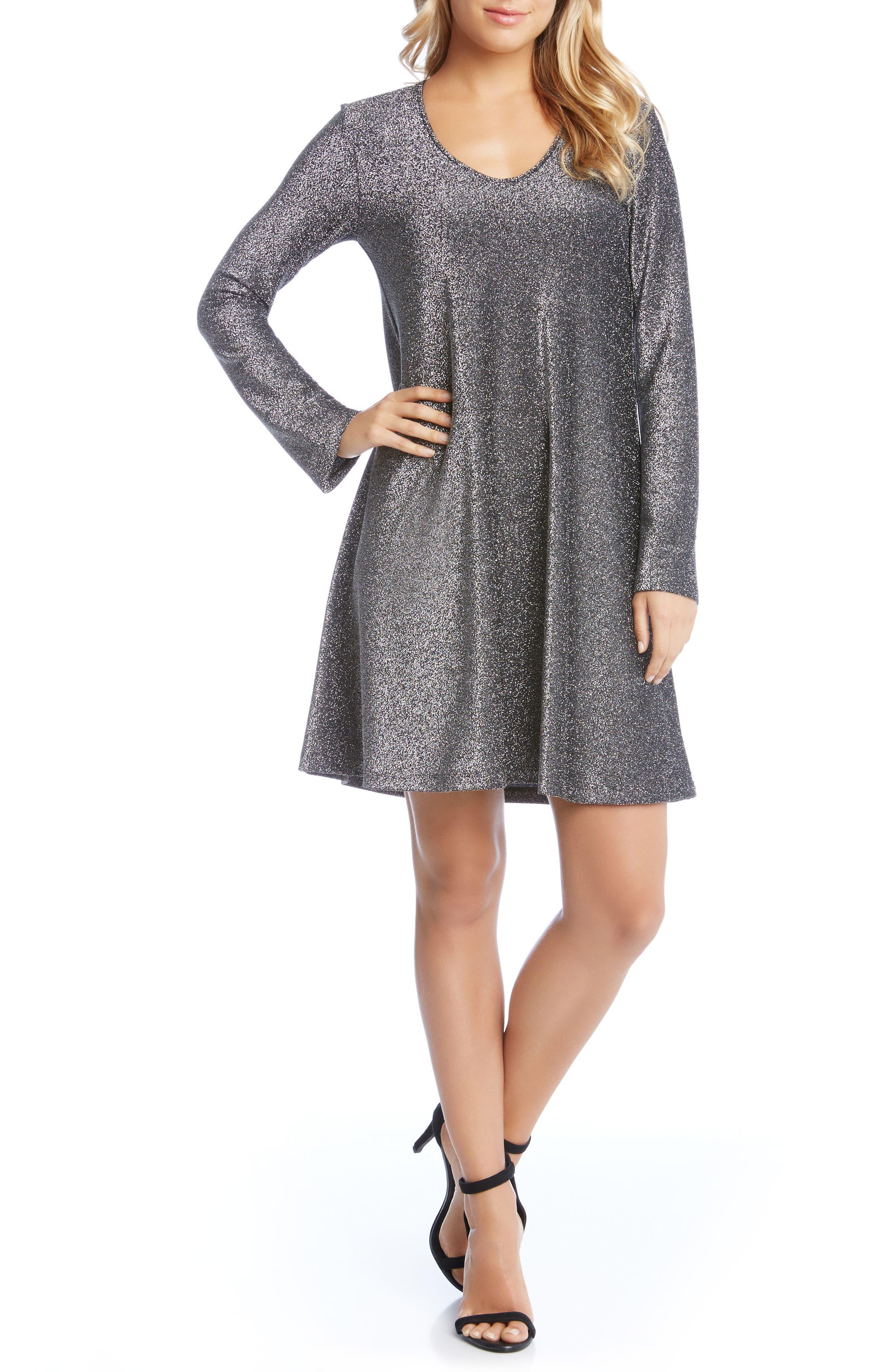 Taylor Sparkle A-Line Dress,                             Alternate thumbnail 4, color,                             Black W/ Silver