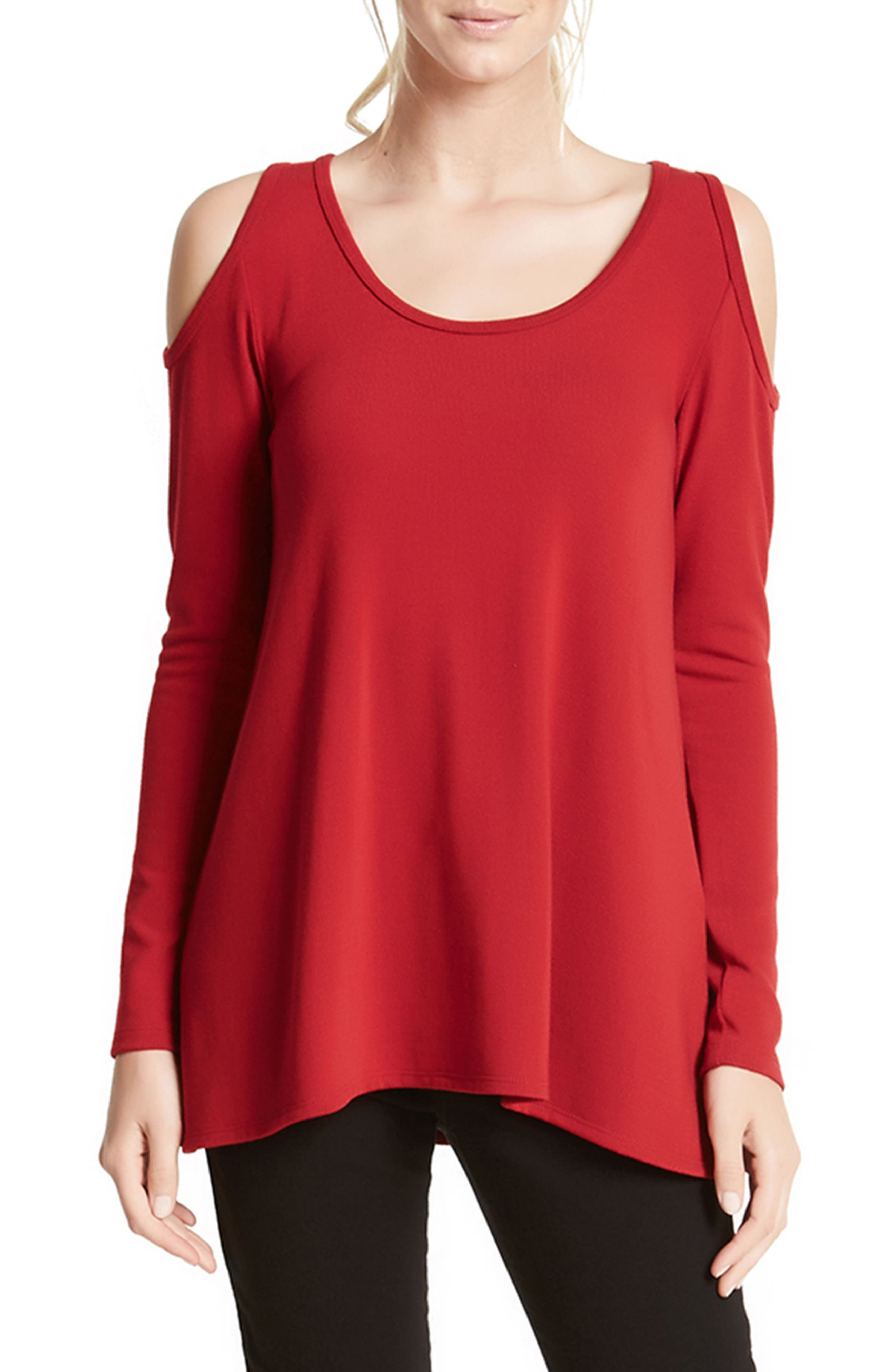 Main Image - Karen Kane High/Low Cold Shoulder Sweater