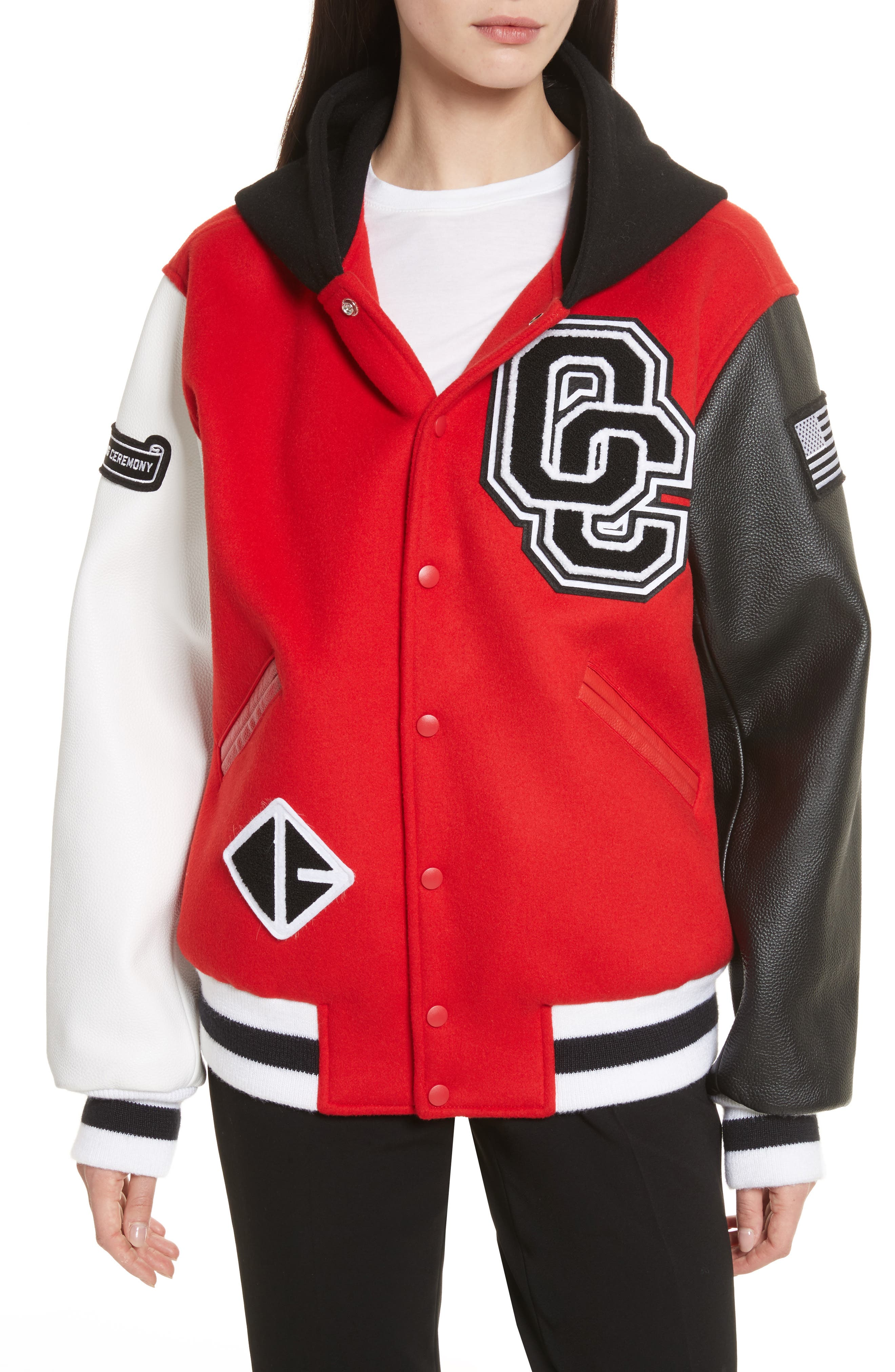 Hooded Varsity Jacket,                         Main,                         color, Jewel Red