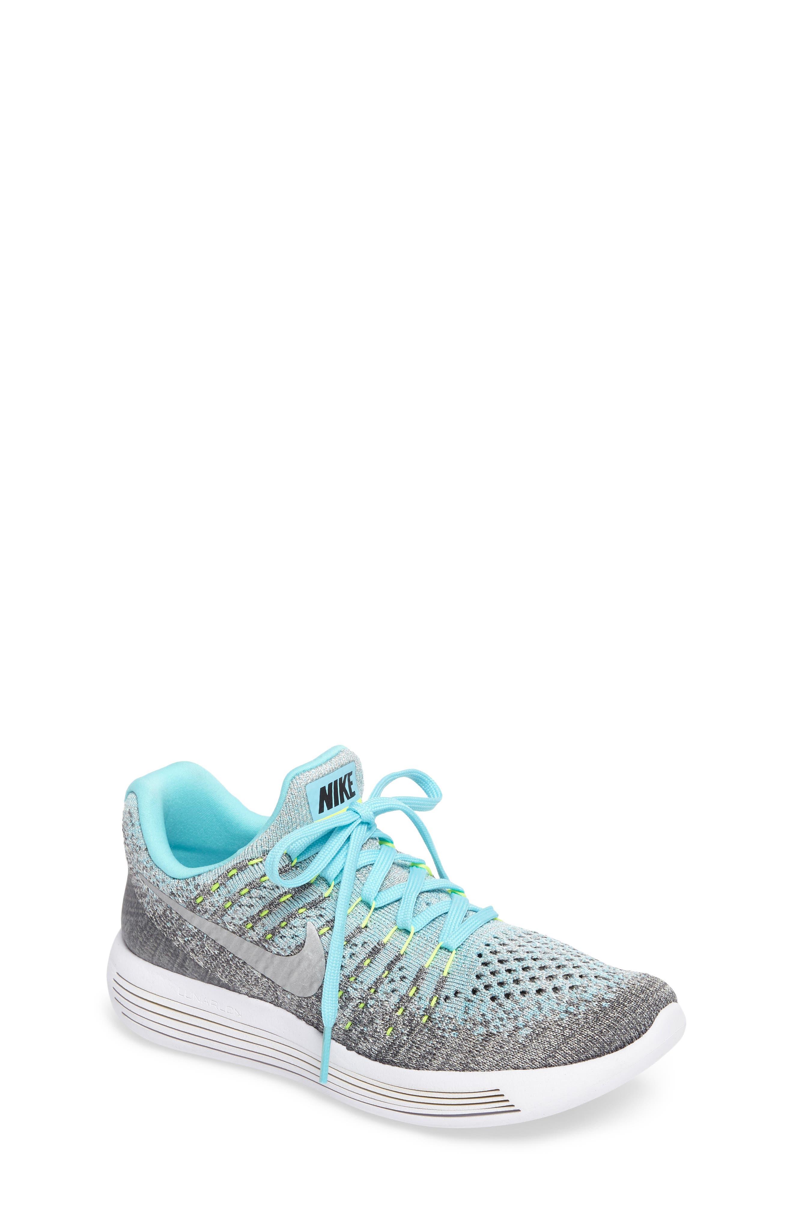 Flyknit LunarEpic Sneaker,                             Main thumbnail 1, color,                             Grey/ Metallic Silver/ Blue