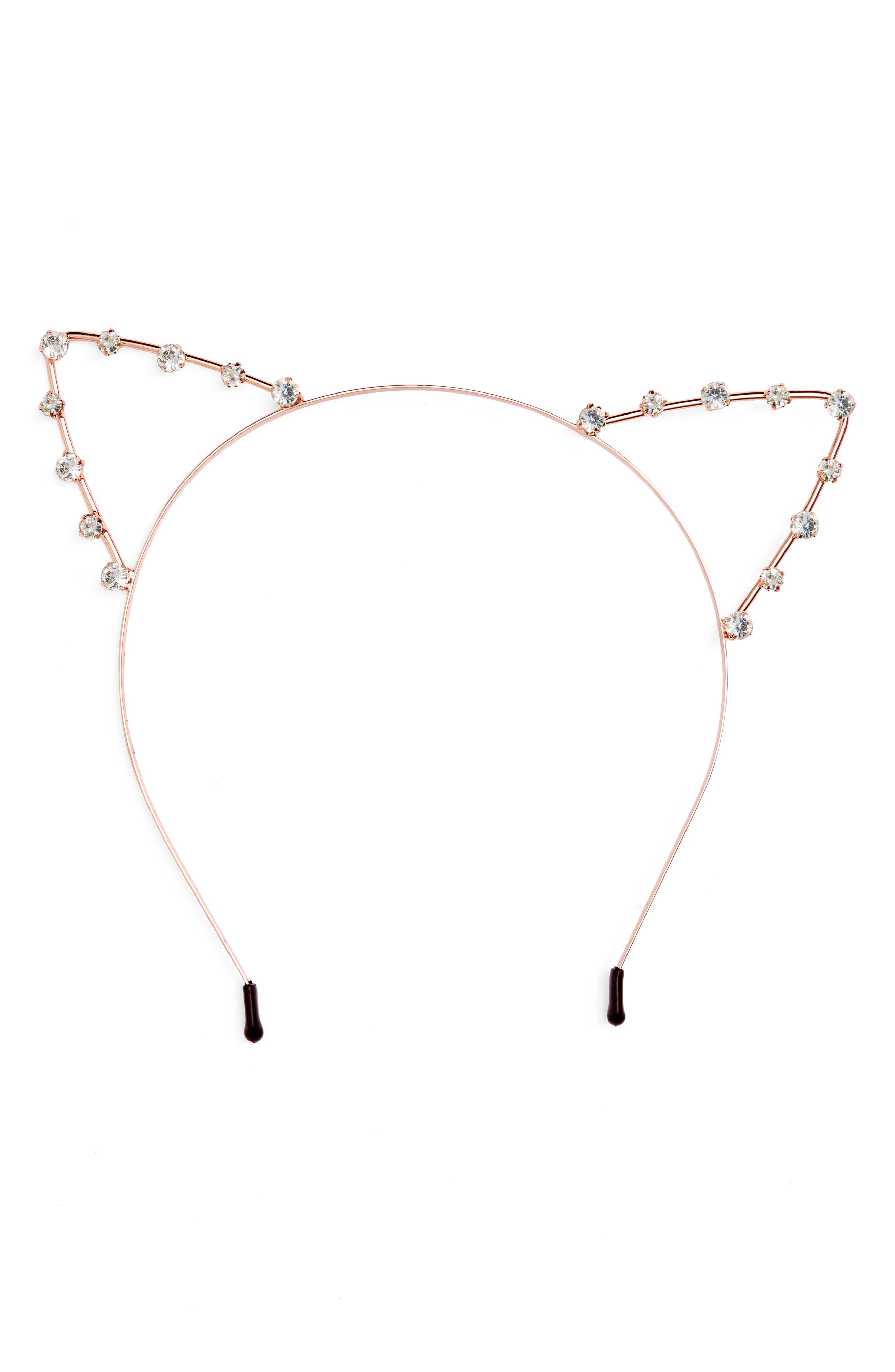 Crystal Cat Ears Headband,                         Main,                         color, Rose Gold