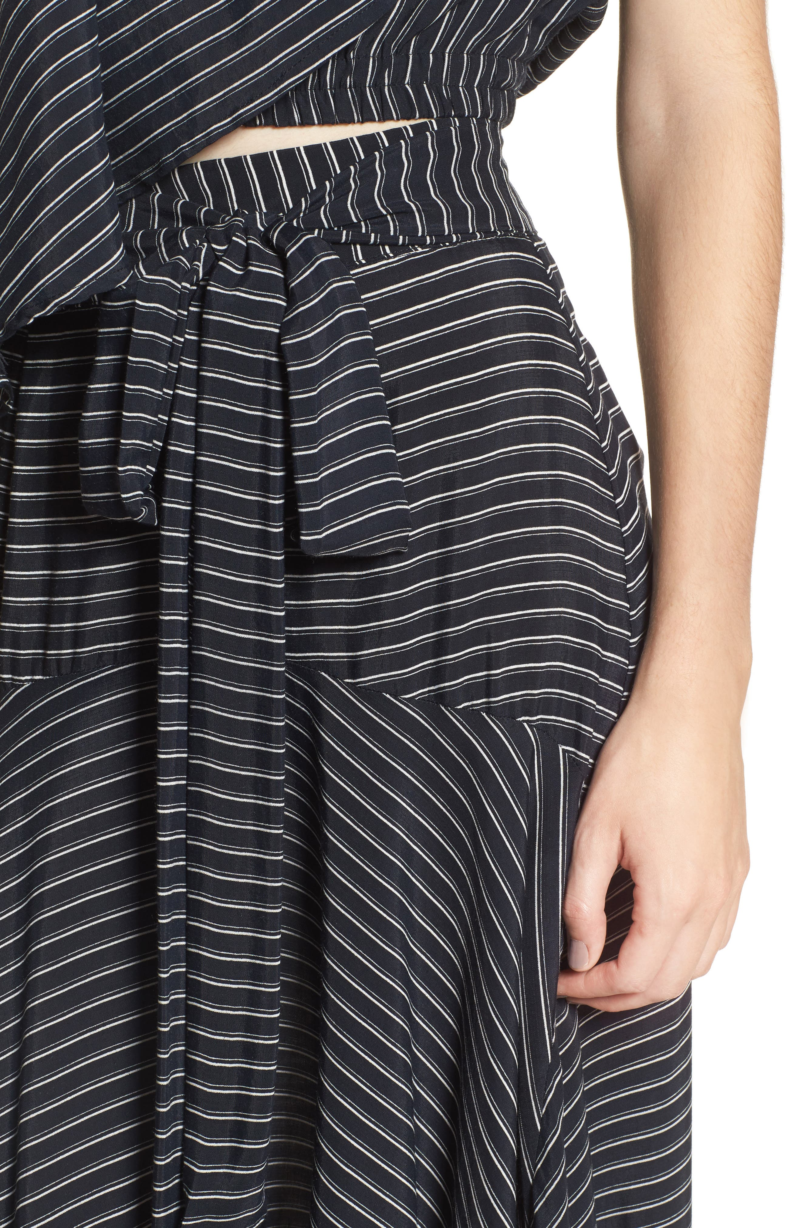 Kamares Ruffle Midi Skirt,                             Alternate thumbnail 4, color,                             San Cristobal Stripe Print