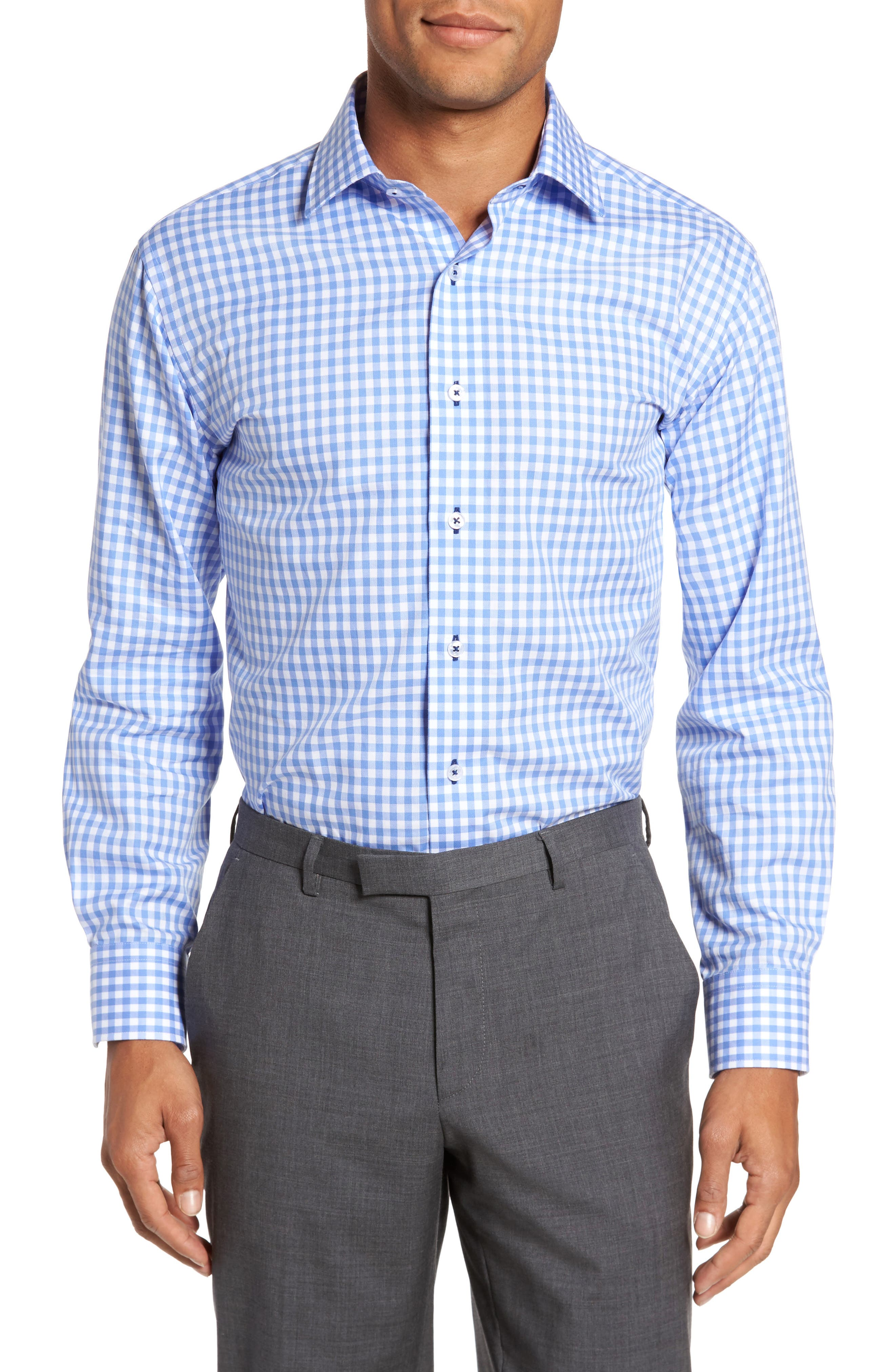 Trim Fit Gingham Dress Shirt,                         Main,                         color, Light Blue