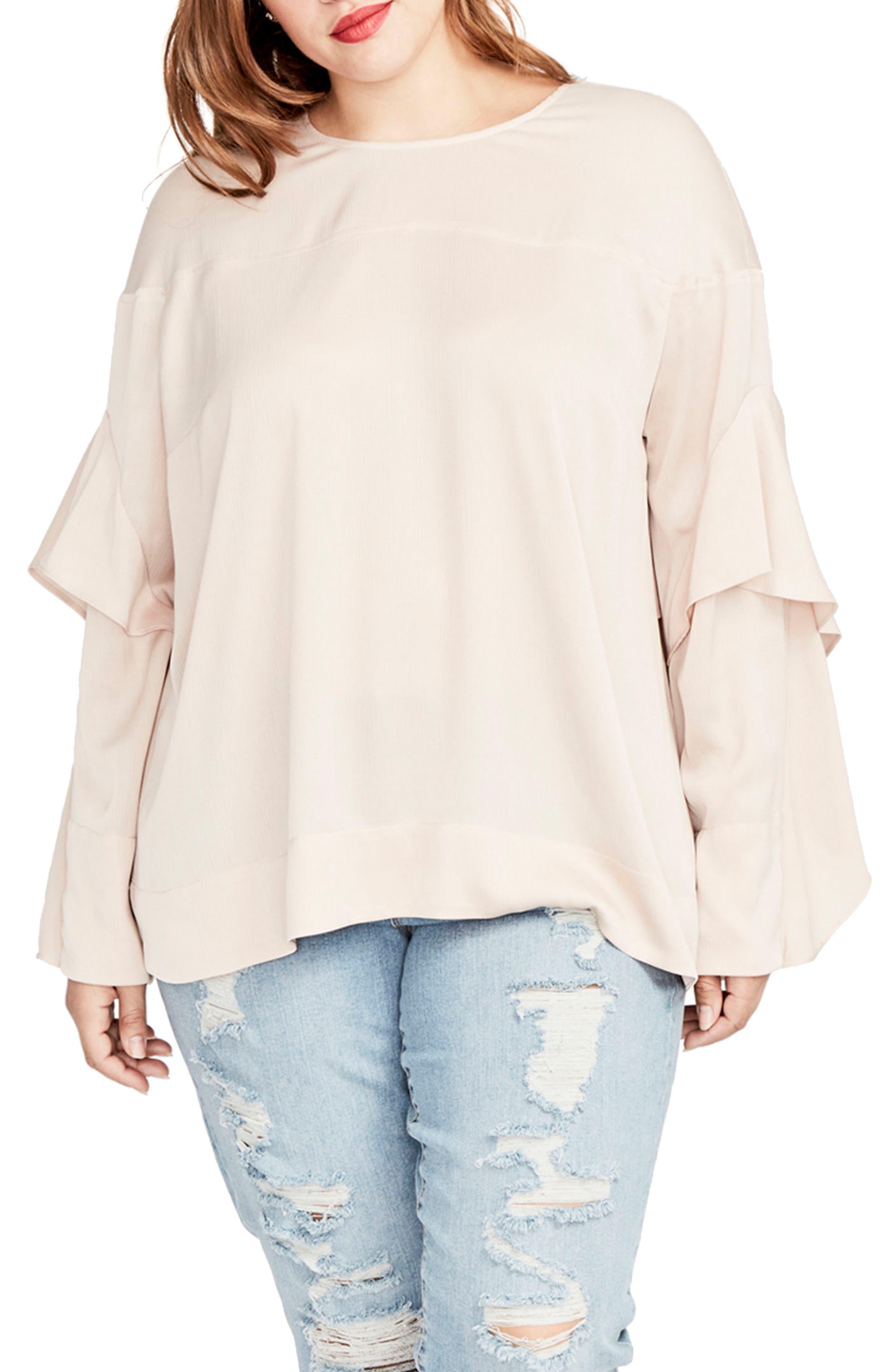 RACHEL Rachel Roy Ruffled Bell Sleeve Blouse (Plus Size)