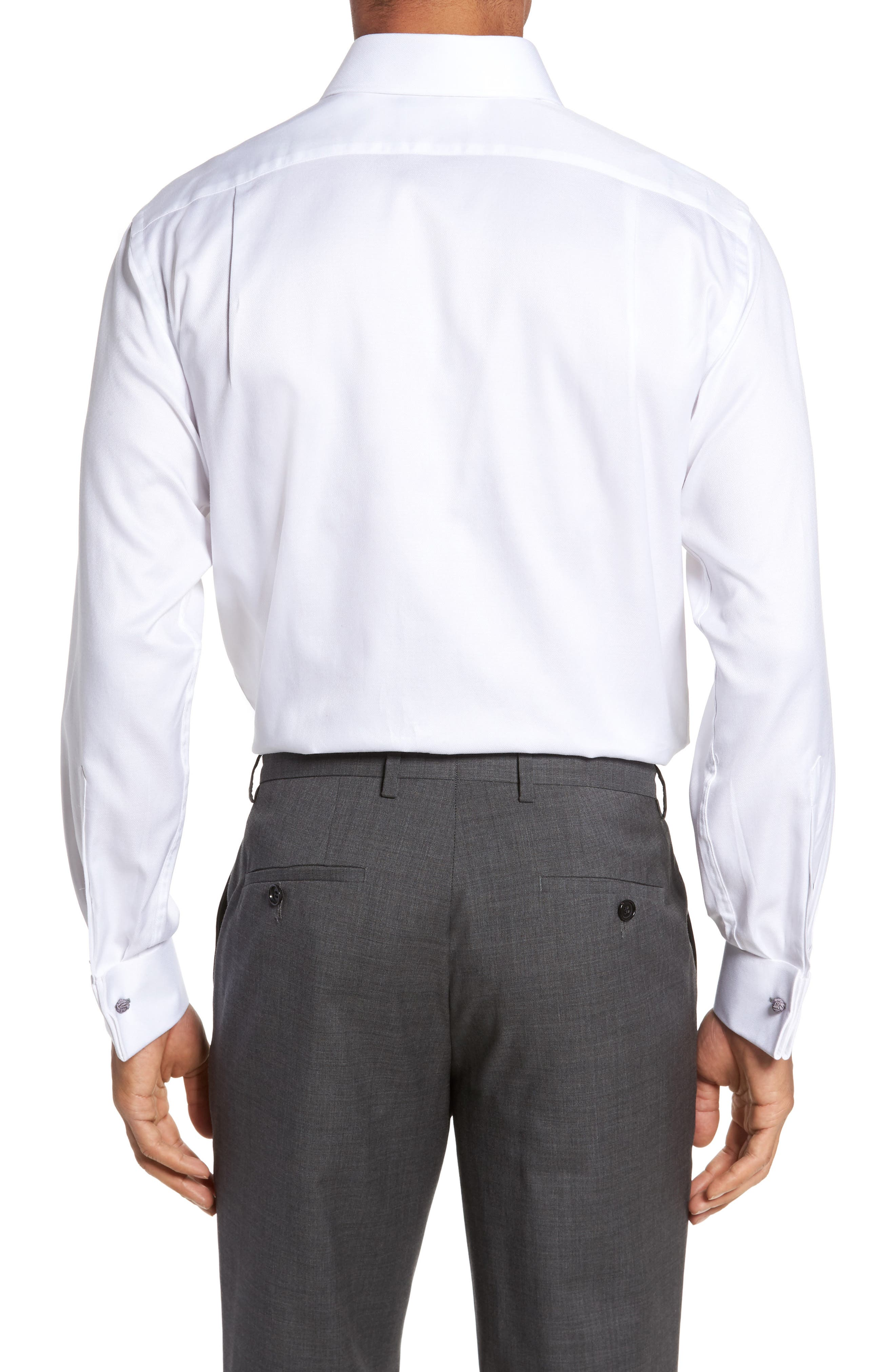 Trim Fit Solid Dress Shirt,                             Alternate thumbnail 2, color,                             White