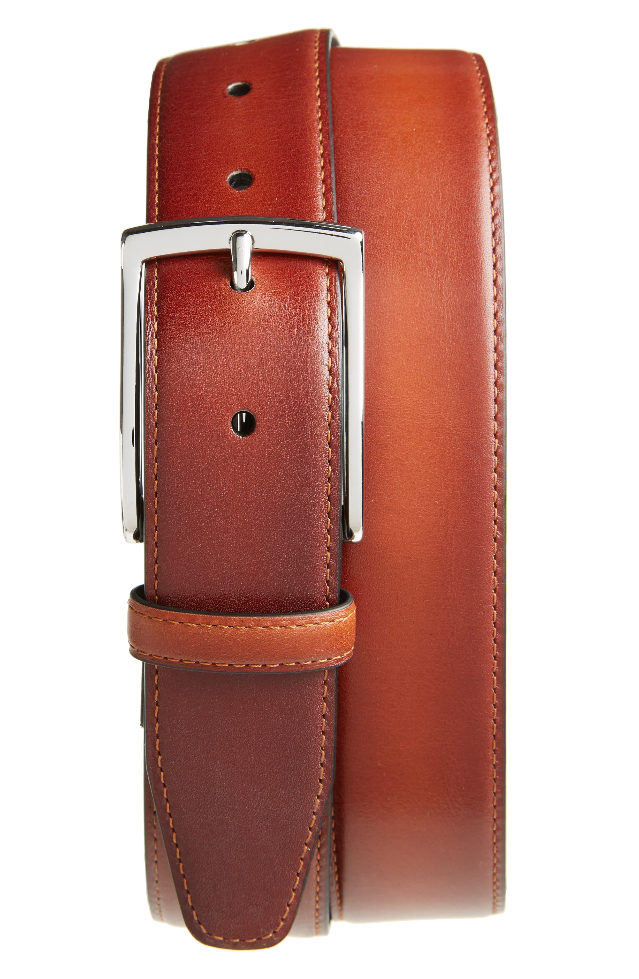 Silvano Leather Belt,                         Main,                         color, Cognac
