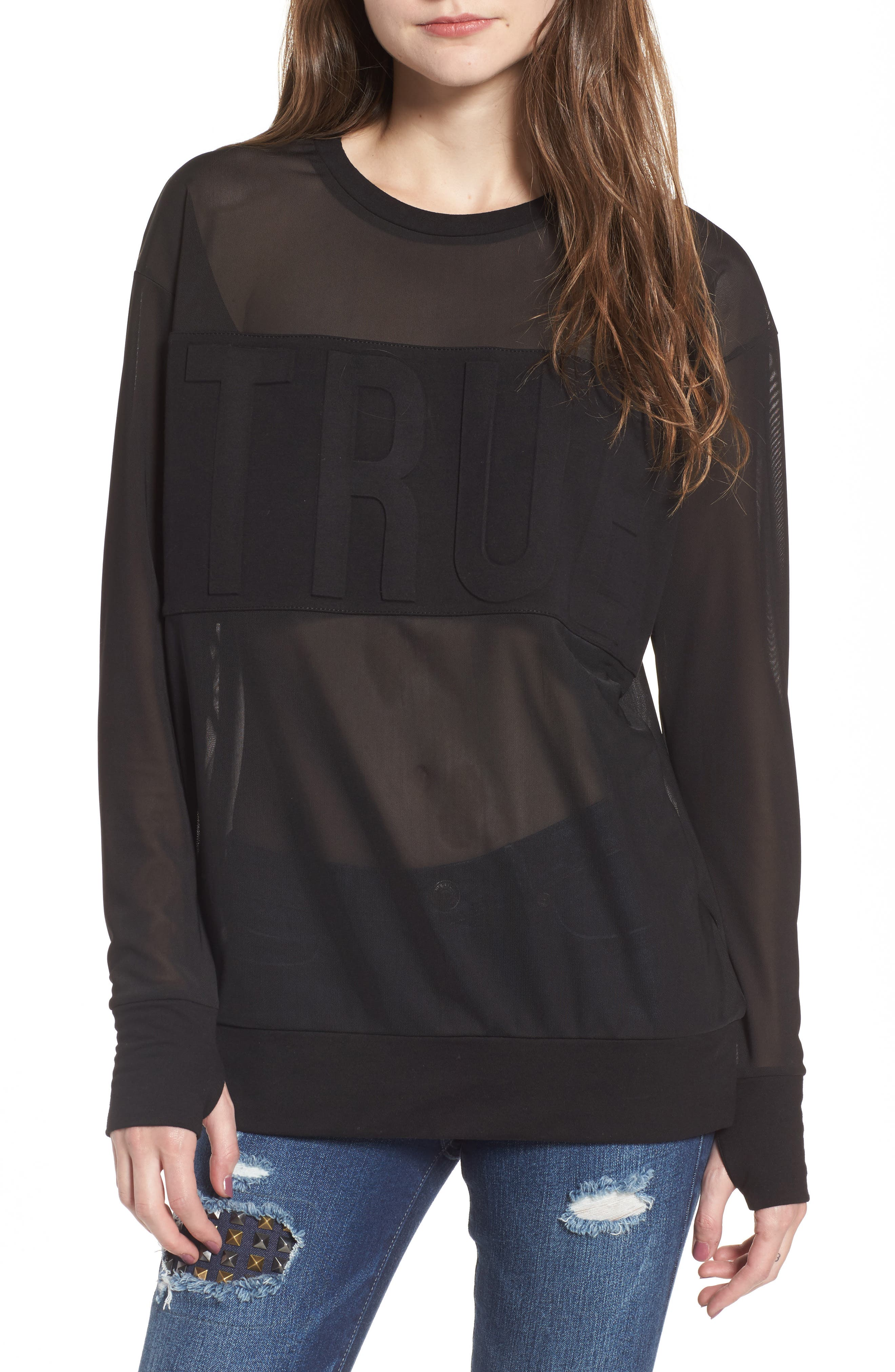 Embossed Mesh Top,                             Main thumbnail 1, color,                             Black