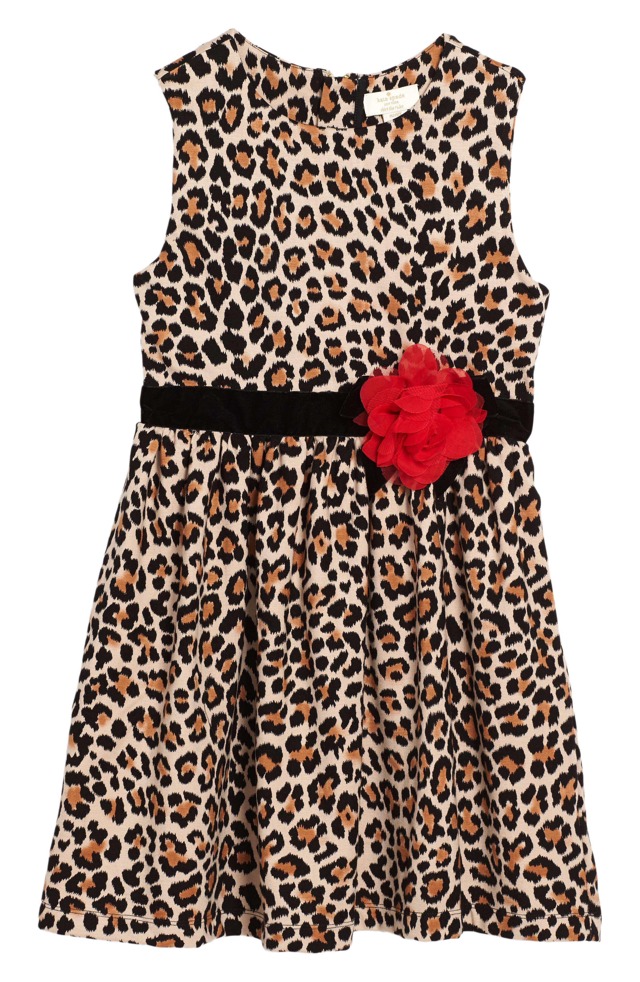 Main Image - kate spade new york leopard print dress (Big Girls)