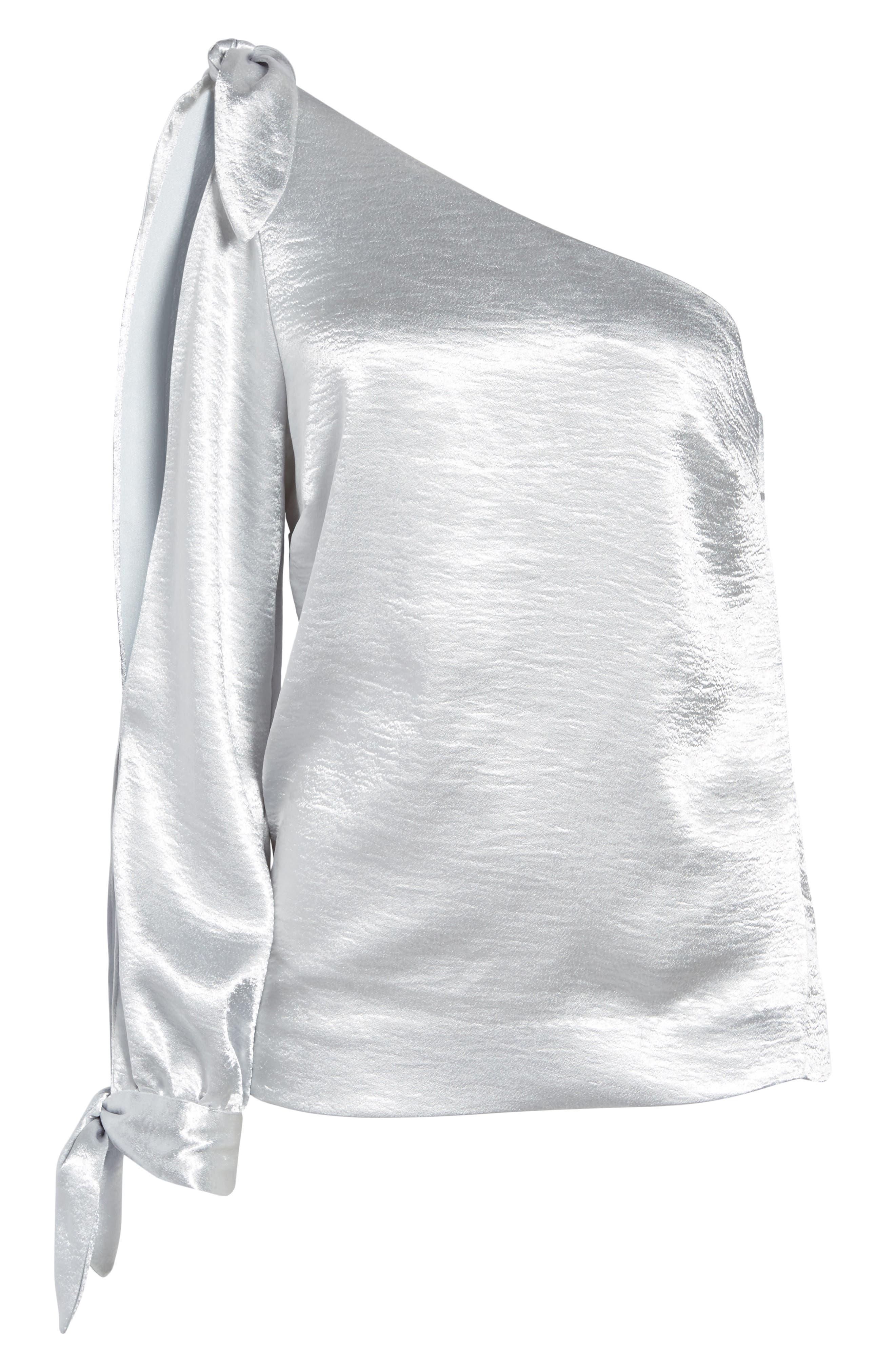 Nash One-Shoulder Blouse,                             Alternate thumbnail 6, color,                             Silver