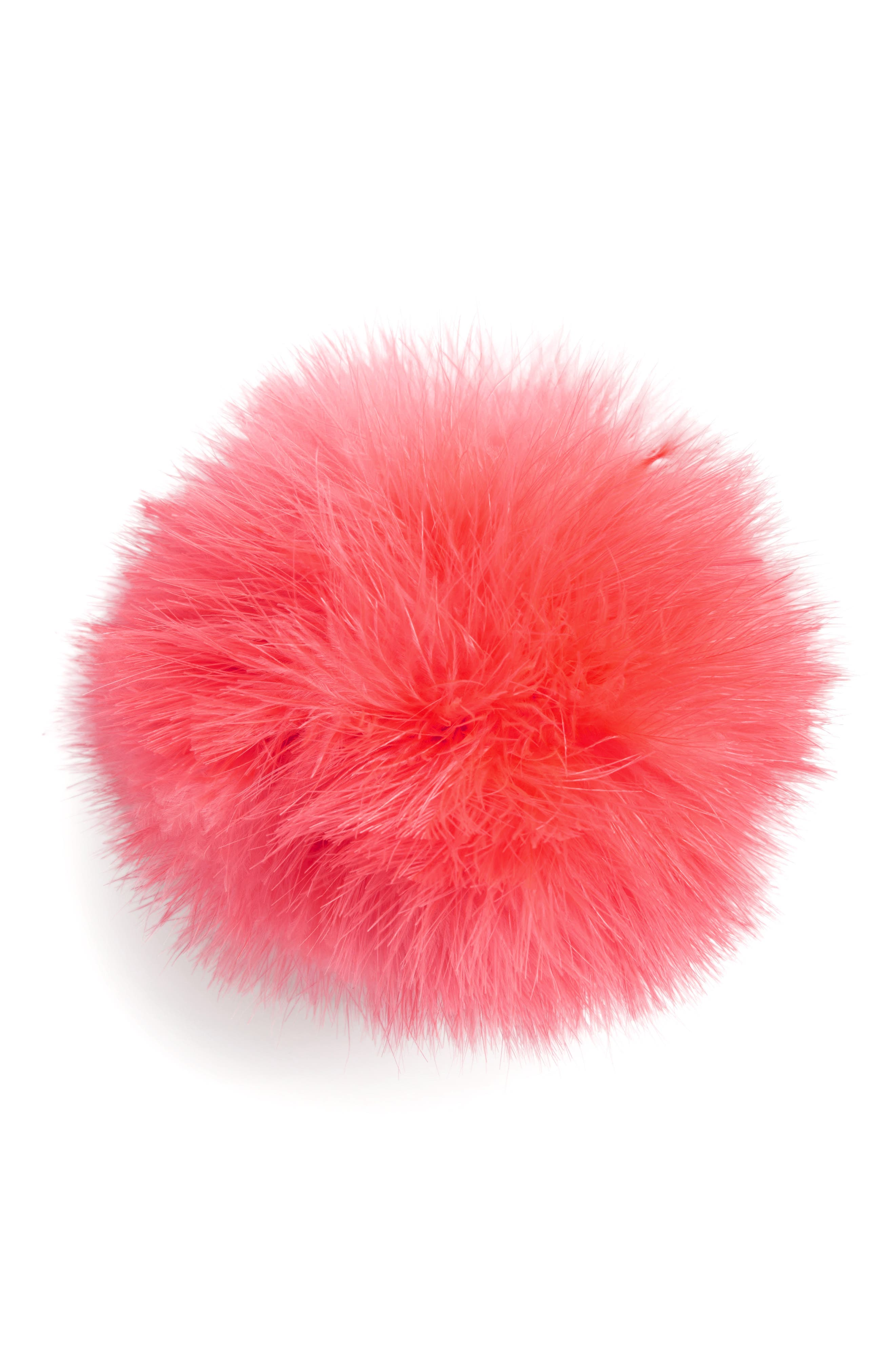 Feather Pompom Ponytail Holder,                             Main thumbnail 1, color,                             Pink