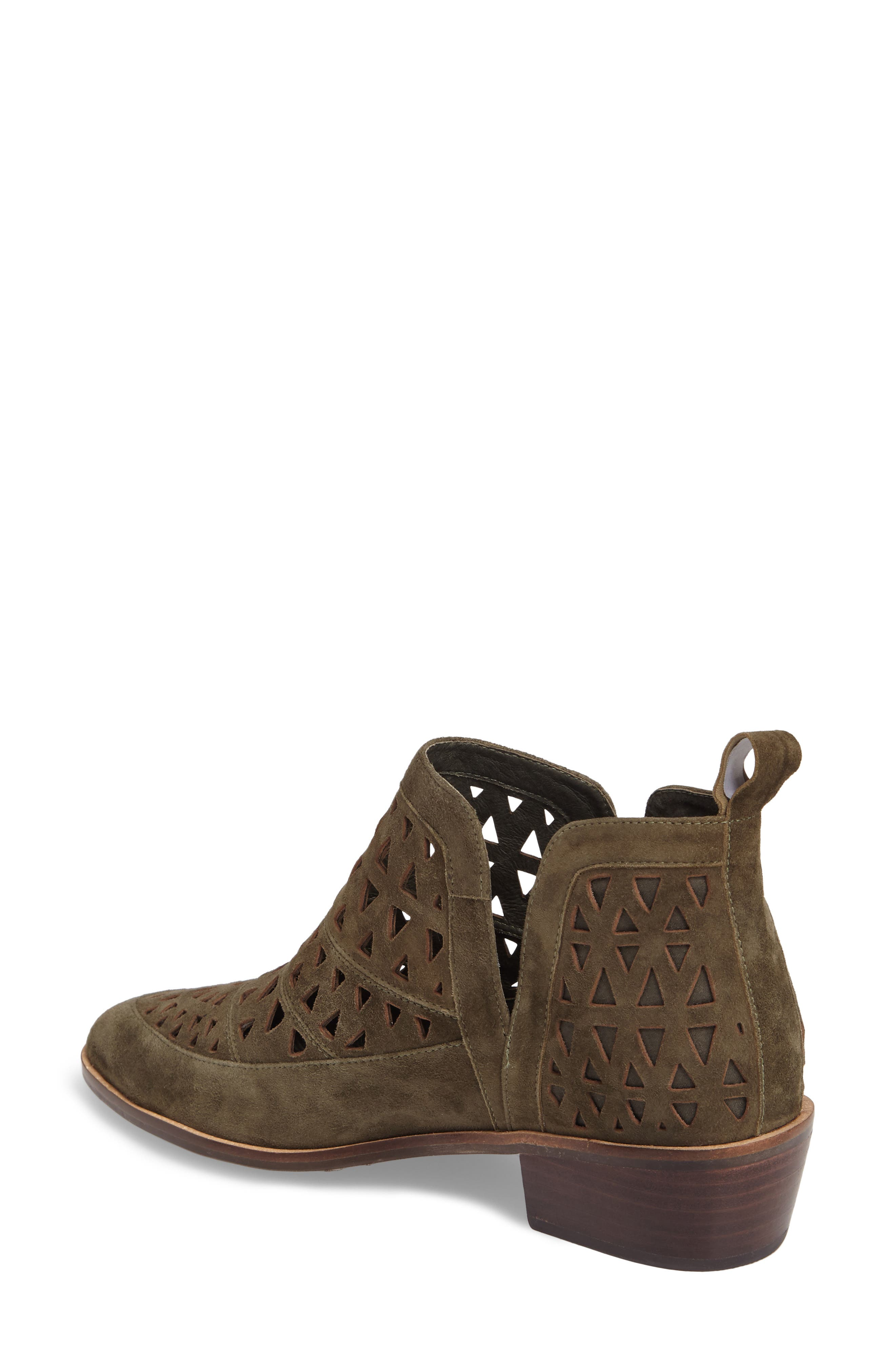 Catherine Cutout Bootie,                             Alternate thumbnail 2, color,                             Olive Suede