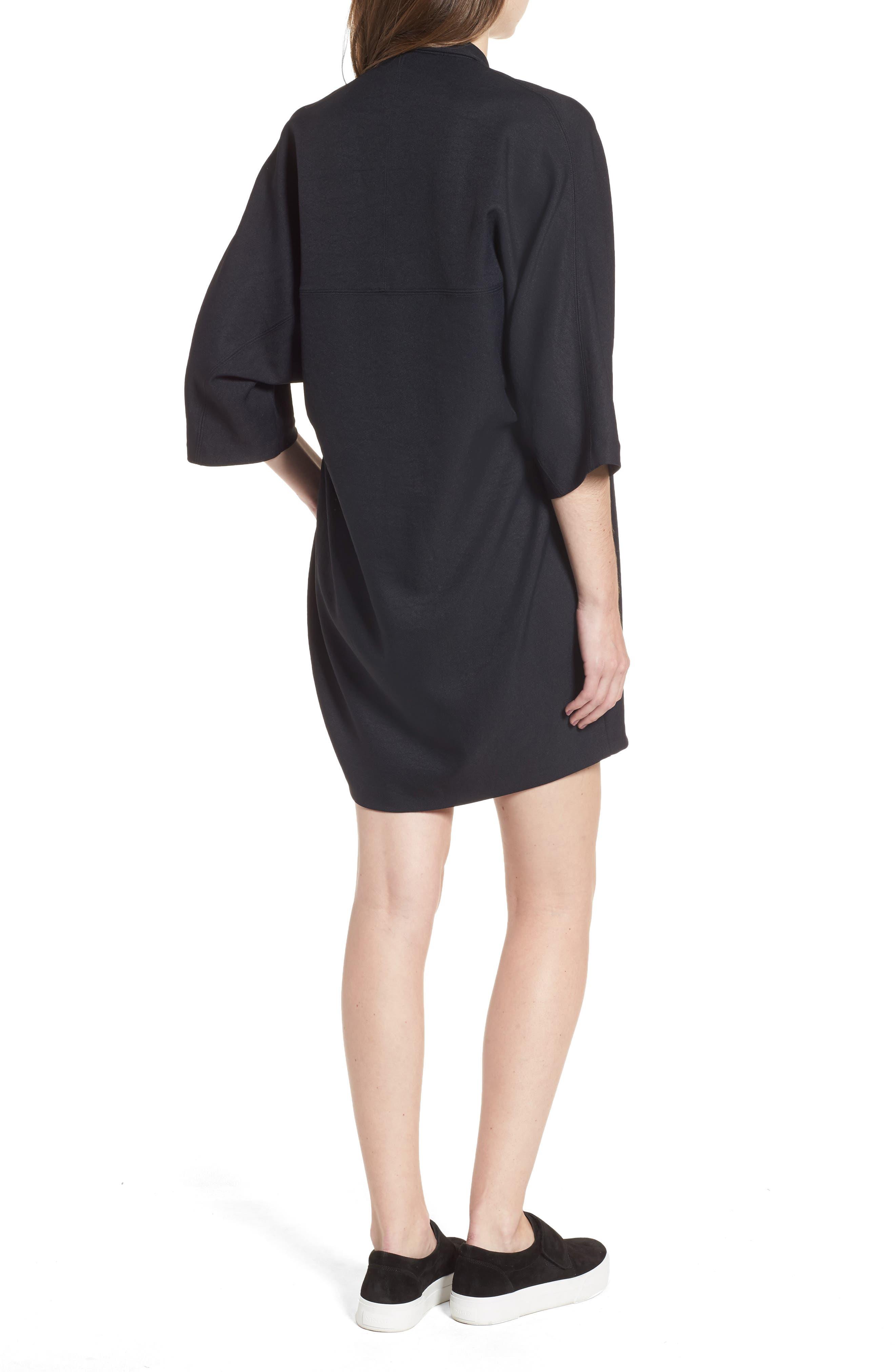 Zip Cocoon Dress,                             Alternate thumbnail 2, color,                             Black