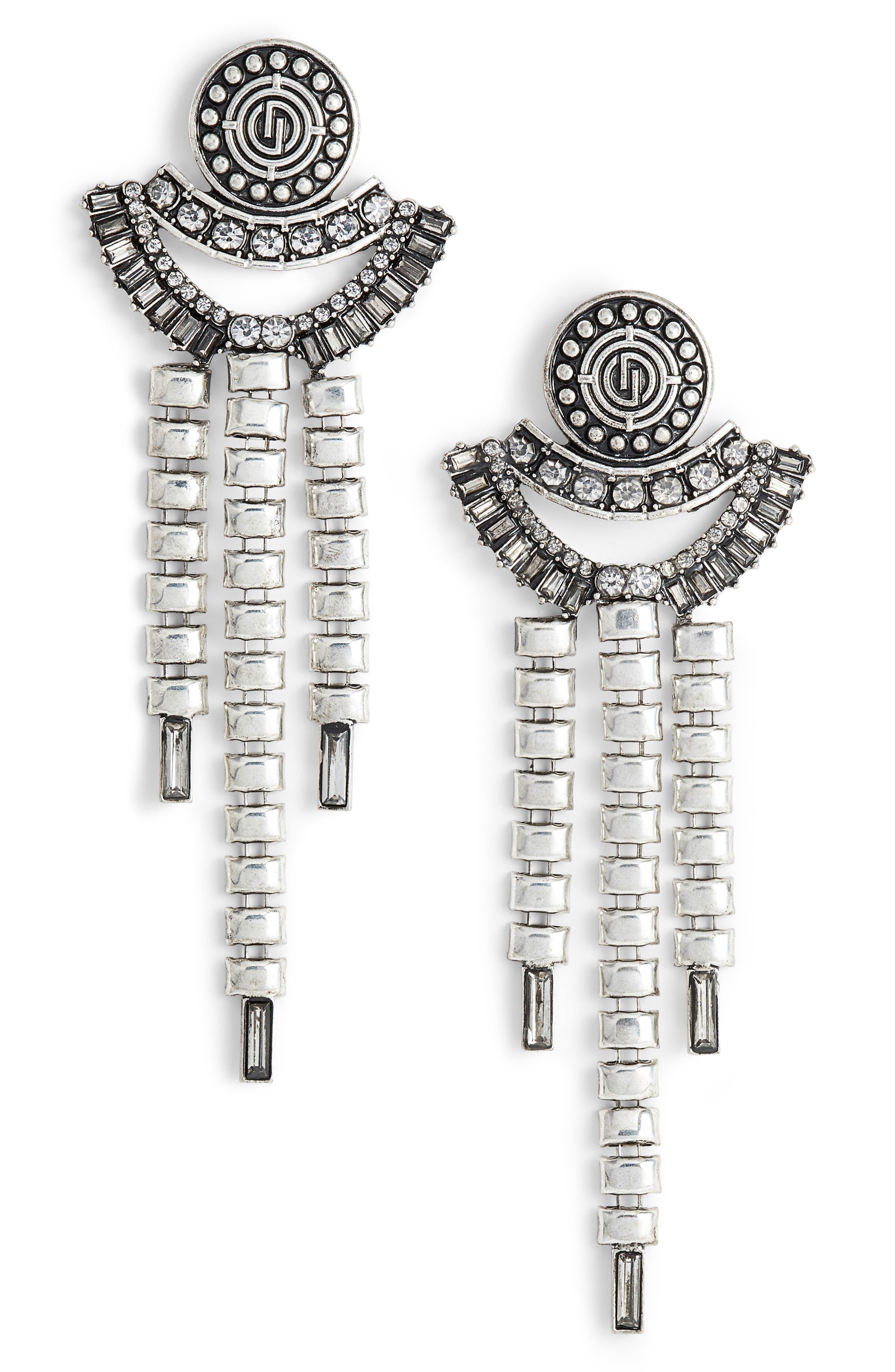 Crystal Drop Earrings,                         Main,                         color, Antiqued Silver