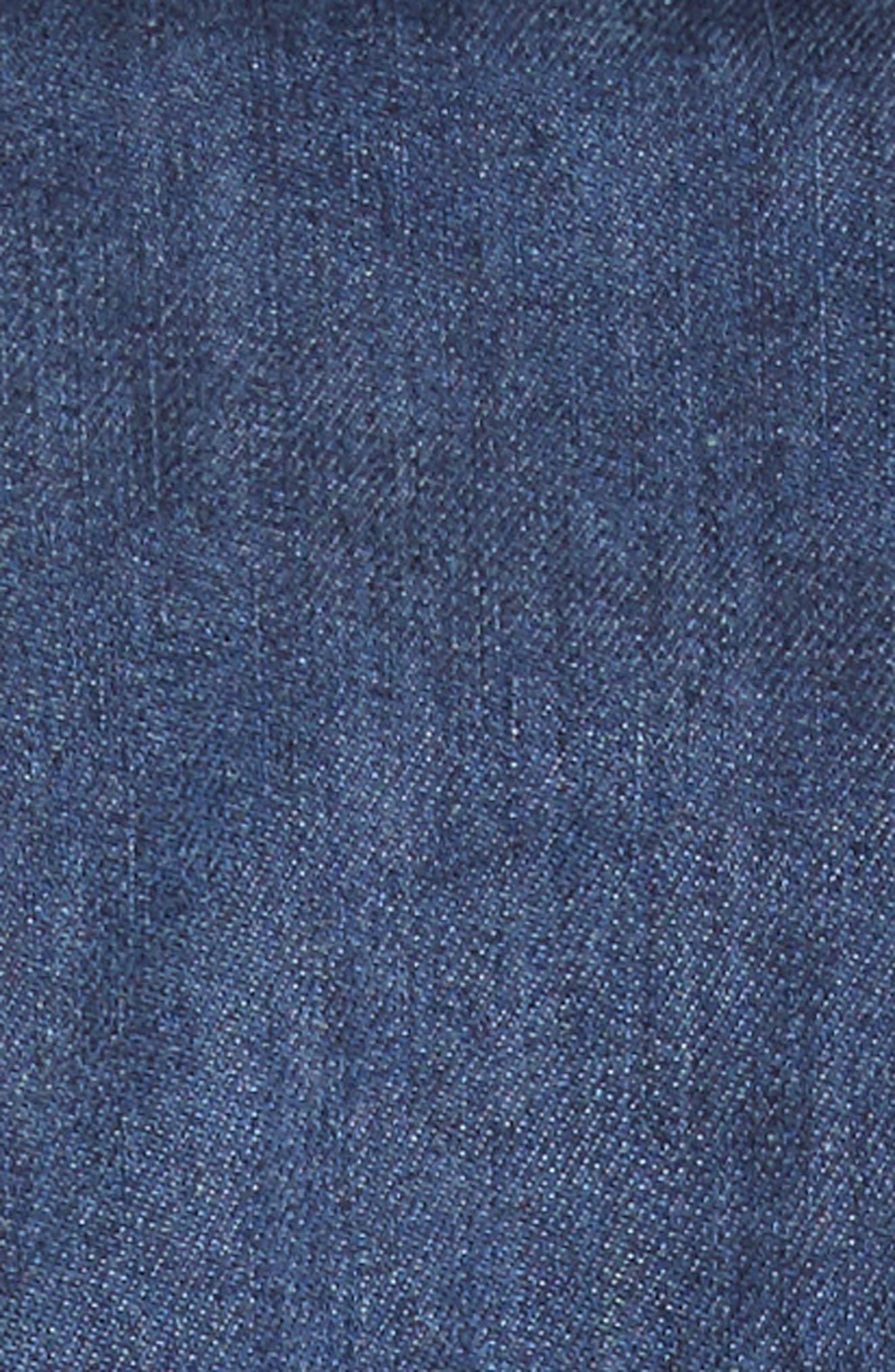 Ruched Denim Midi Dress,                             Alternate thumbnail 7, color,                             Dark Blue