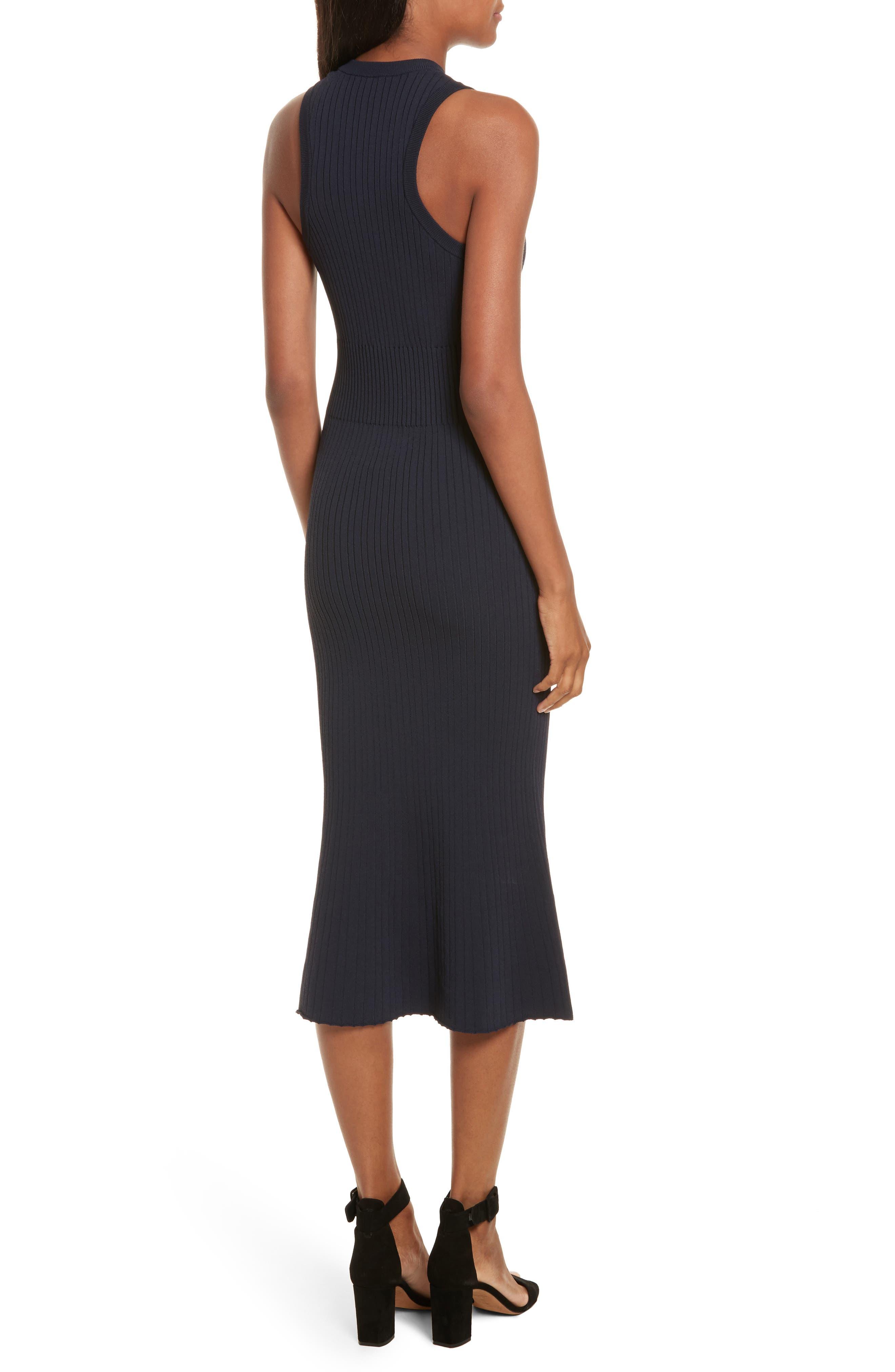 Rib Knit Midi Dress,                             Alternate thumbnail 2, color,                             Midnight