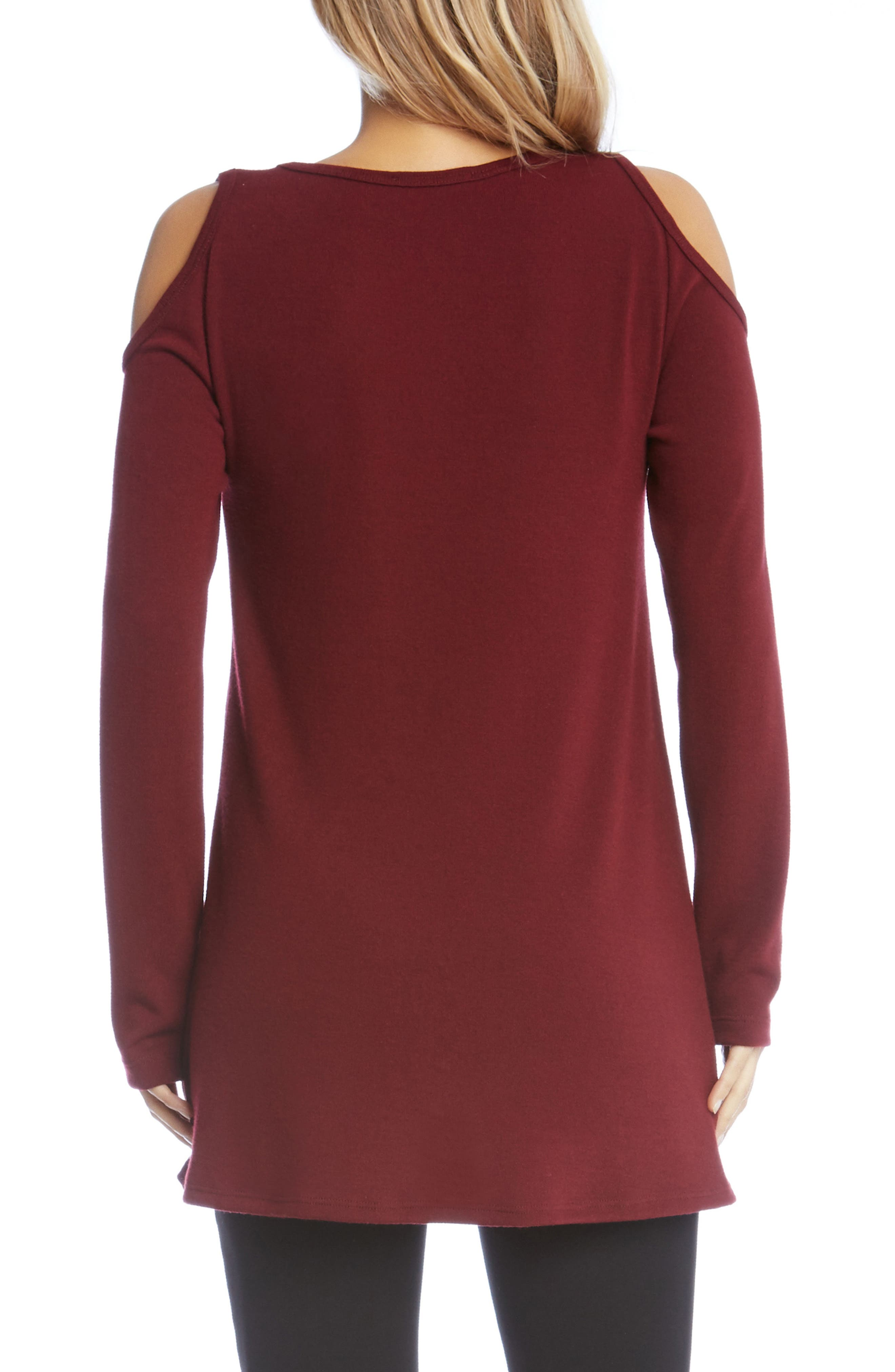 High/Low Cold Shoulder Sweater,                             Alternate thumbnail 2, color,                             Wine