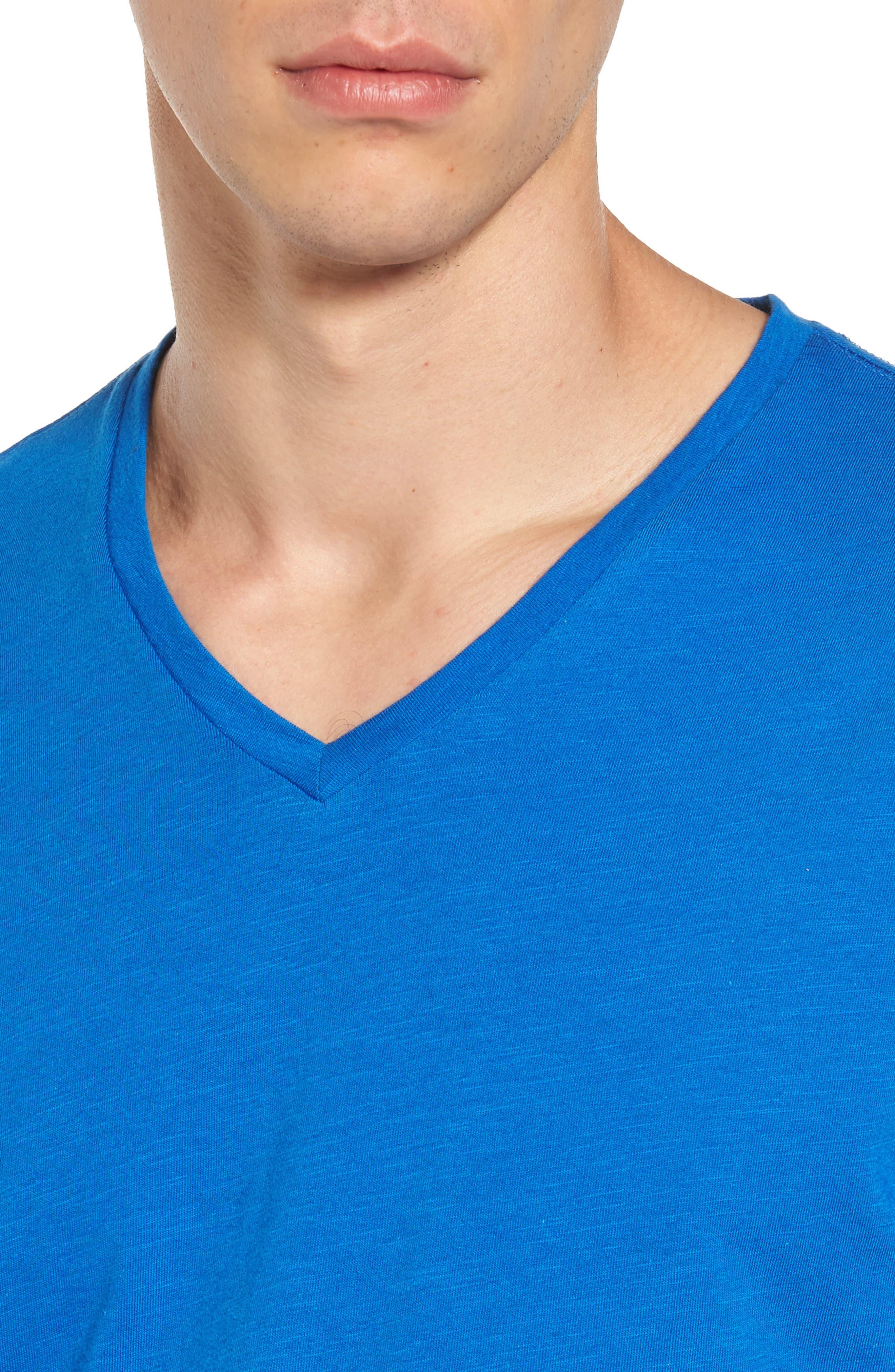 Slub Cotton V-Neck T-Shirt,                             Alternate thumbnail 4, color,                             Blue Racer
