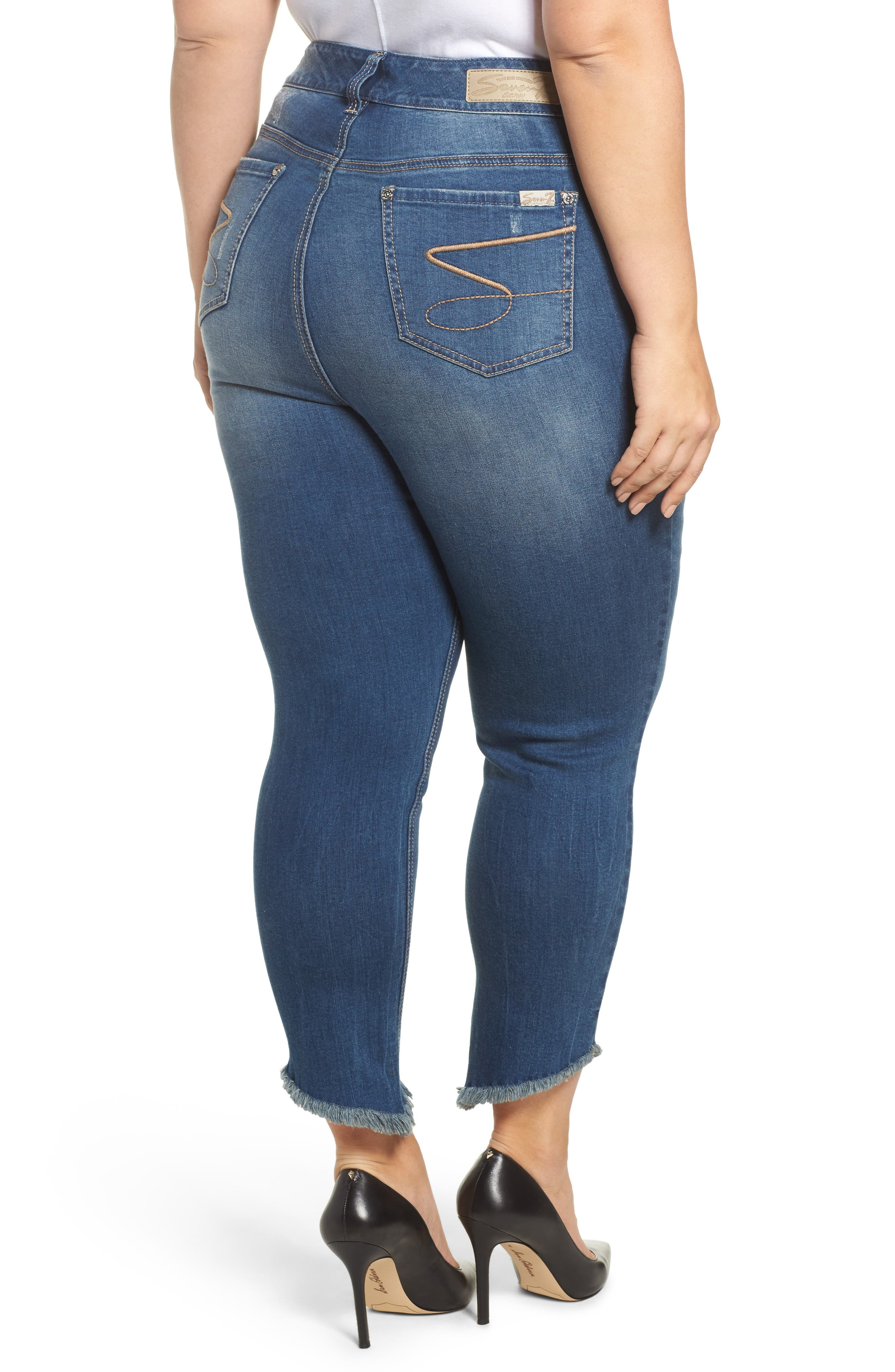 Alternate Image 2  - Seven7 Frayed Hem Skinny Jeans (Plus Size)
