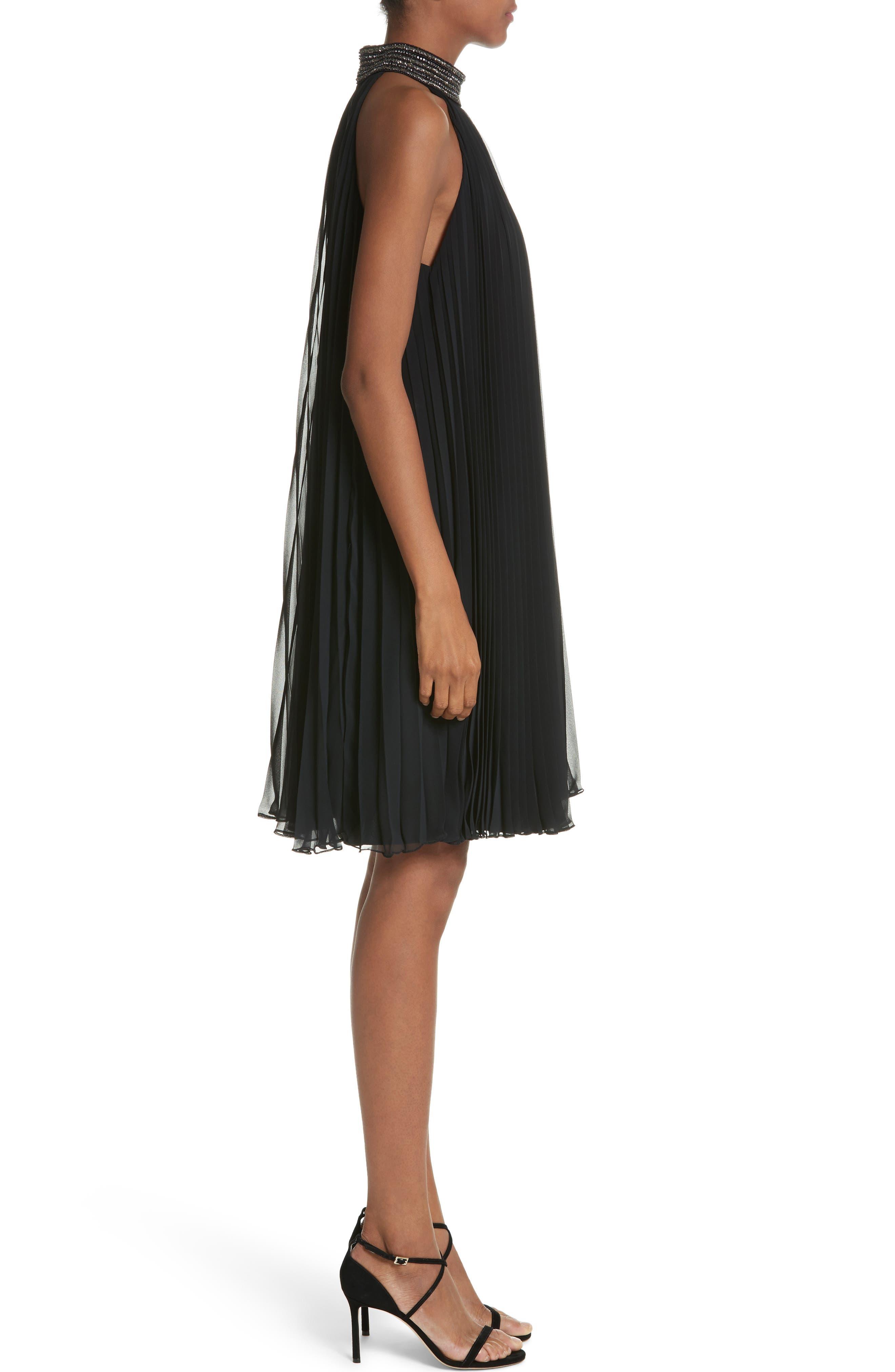 Carmen Marc Valvo Embellished Pleat Trapeze Dress,                             Alternate thumbnail 3, color,                             Black