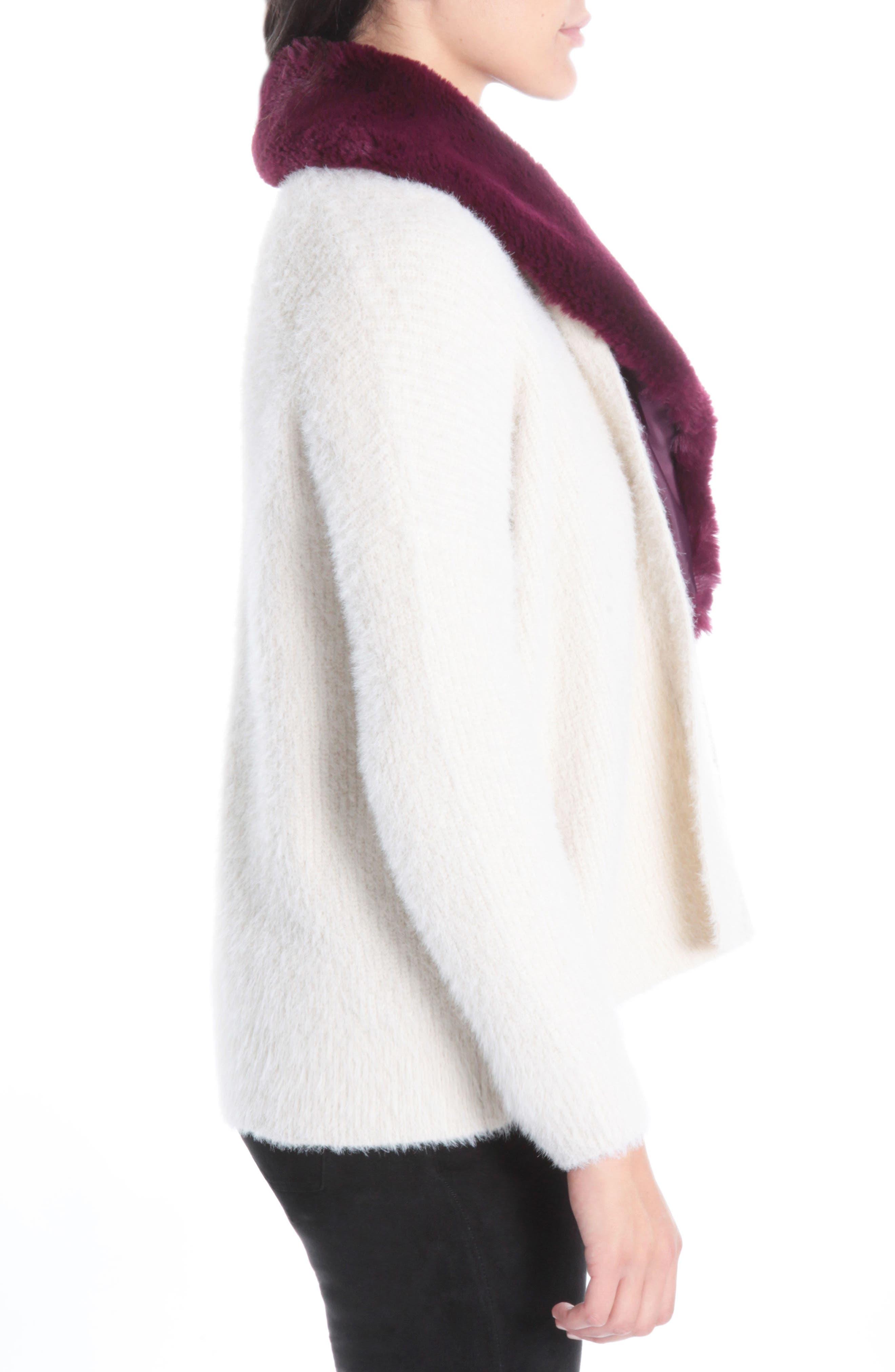 Fredrica Faux Fur Collar Knit Sweater,                             Alternate thumbnail 3, color,                             Cream