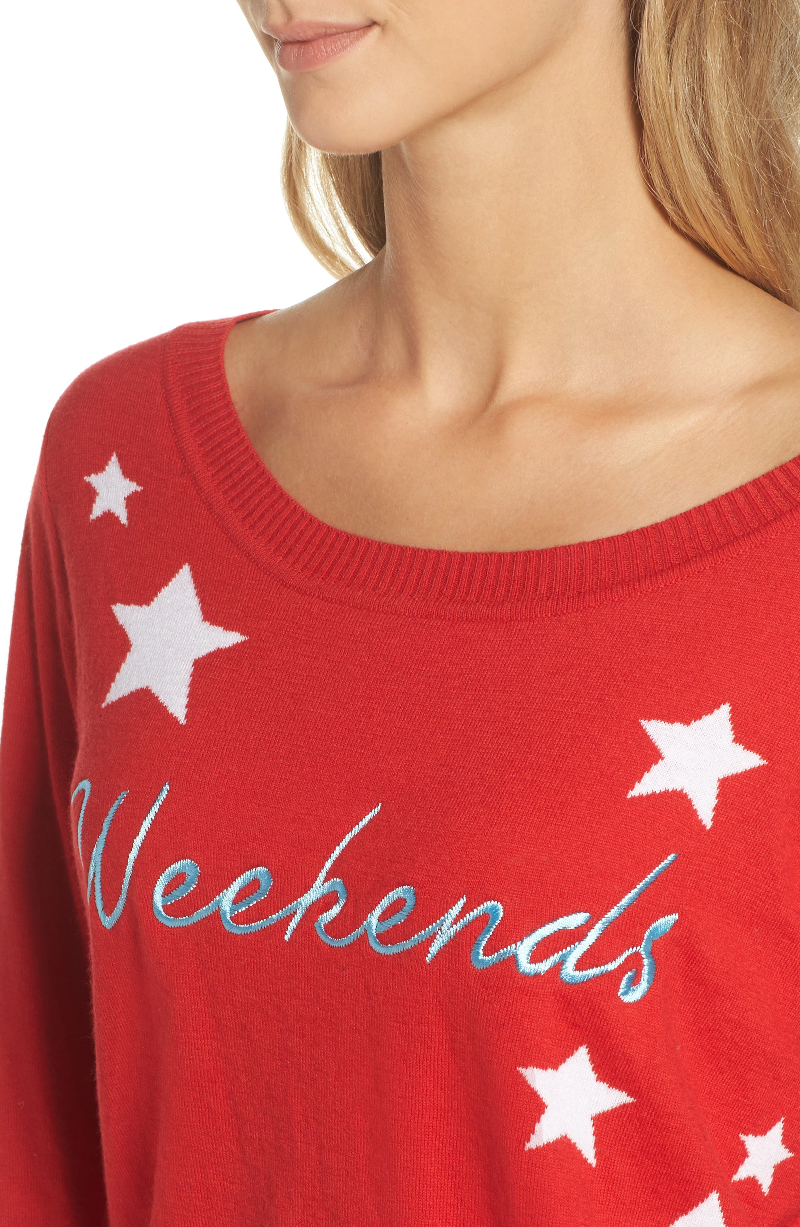 Weekends Intarsia Sweater,                             Alternate thumbnail 5, color,                             Cardinal