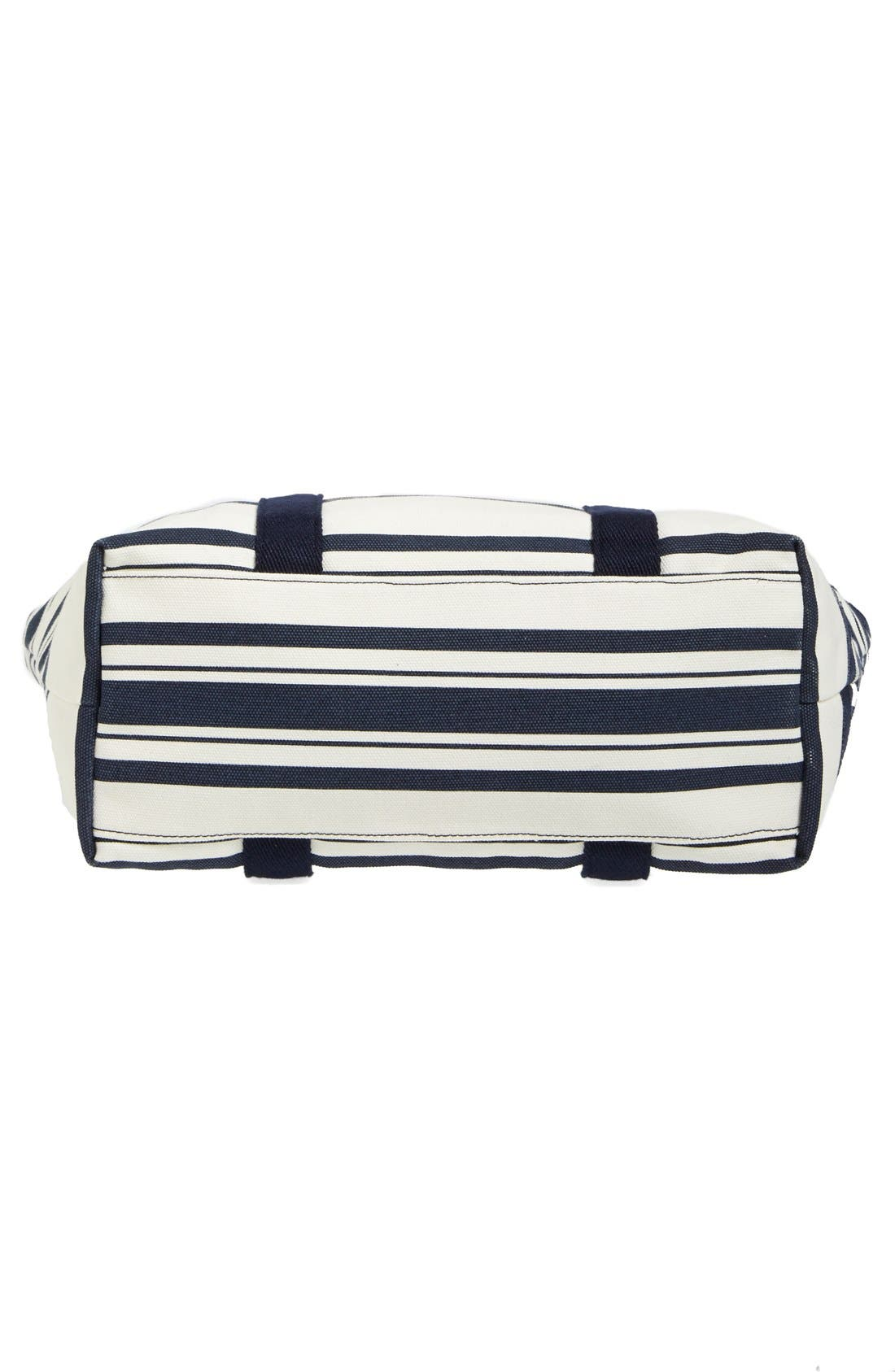 Small Canvas Stripe Tote,                             Alternate thumbnail 6, color,                             Tory Navy Awning Stripe