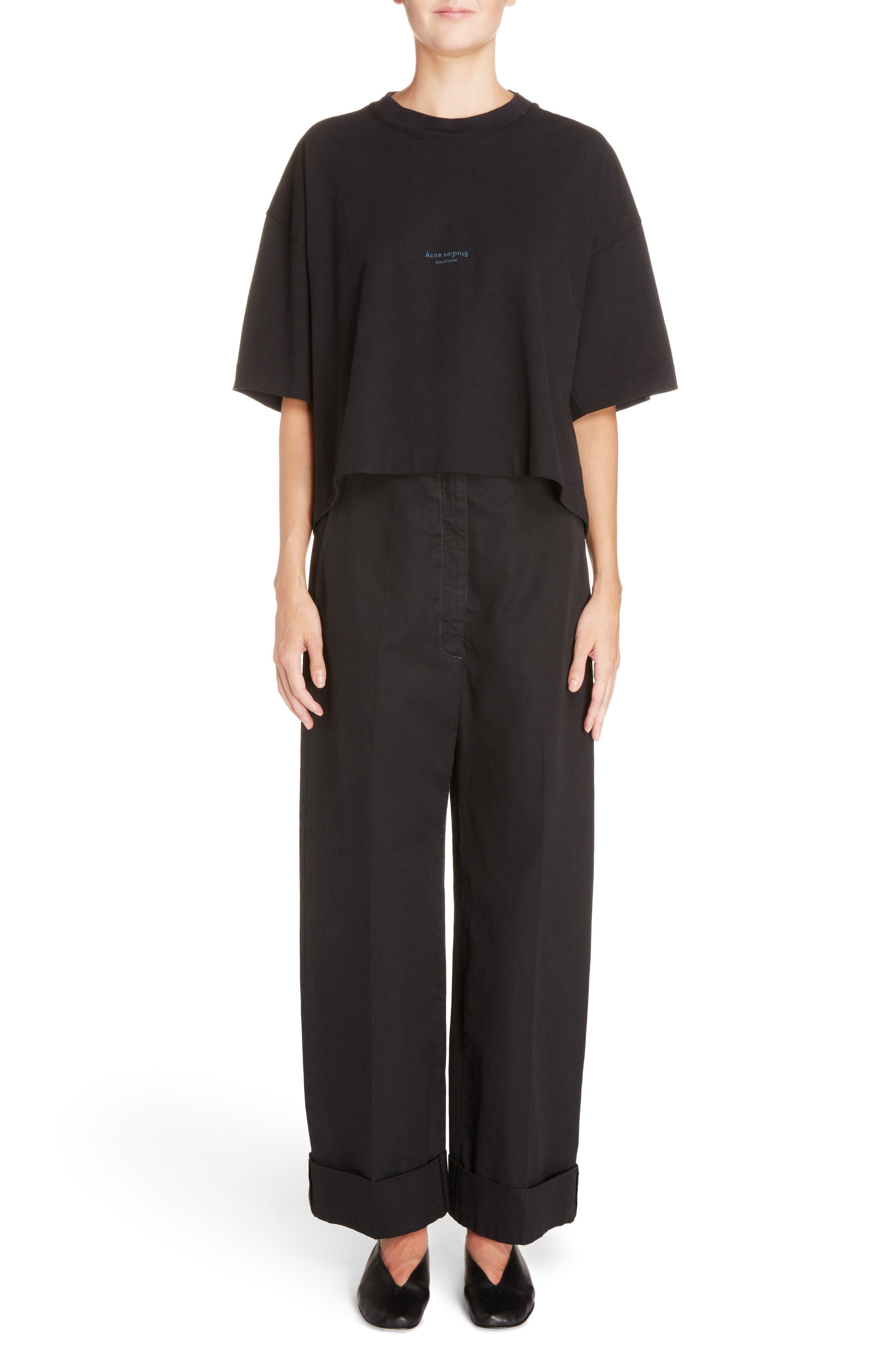 Madya Cuffed Cotton Pants,                             Alternate thumbnail 5, color,                             Black
