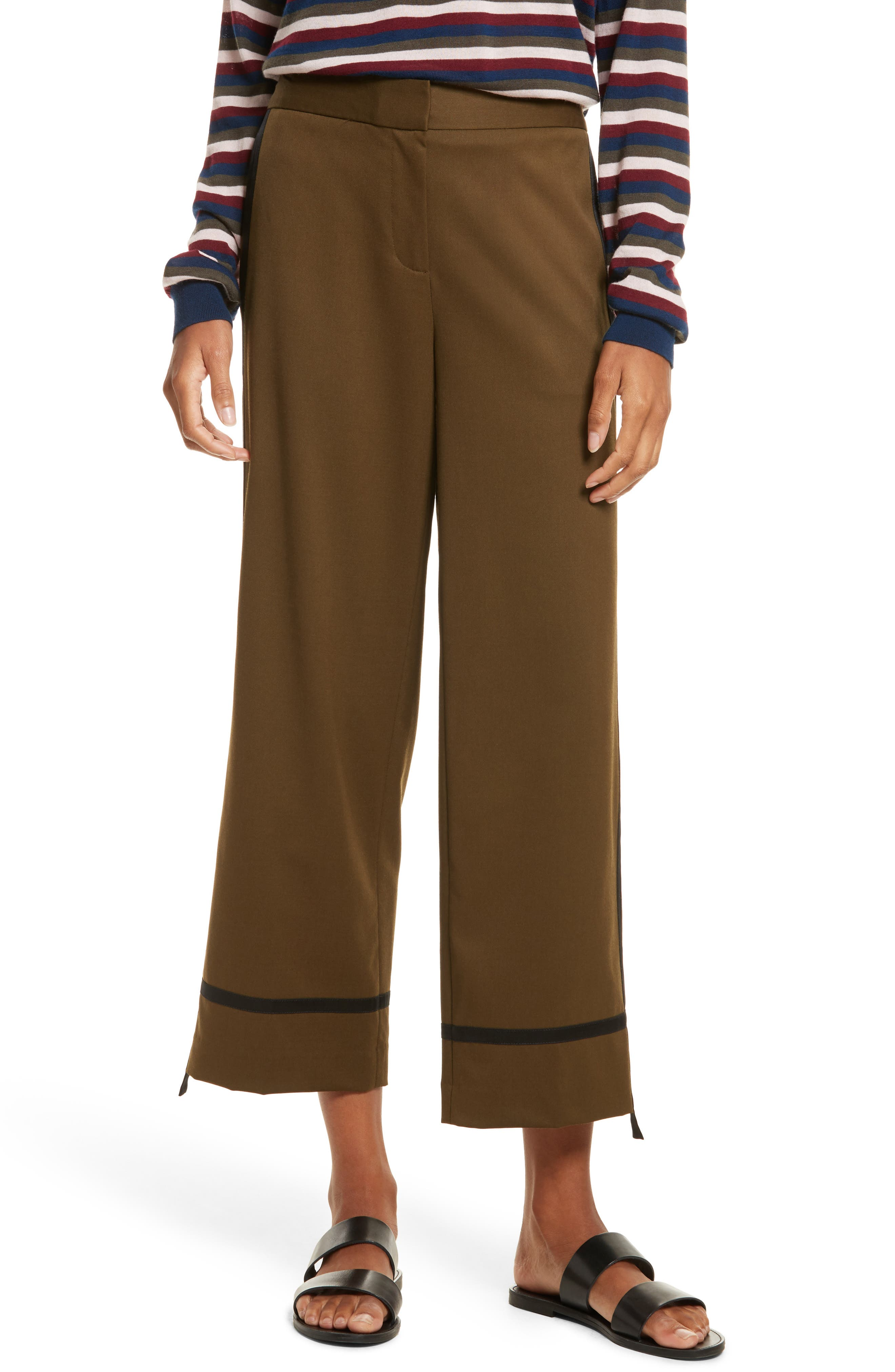 Crop Straight Leg Pants,                         Main,                         color, Olive