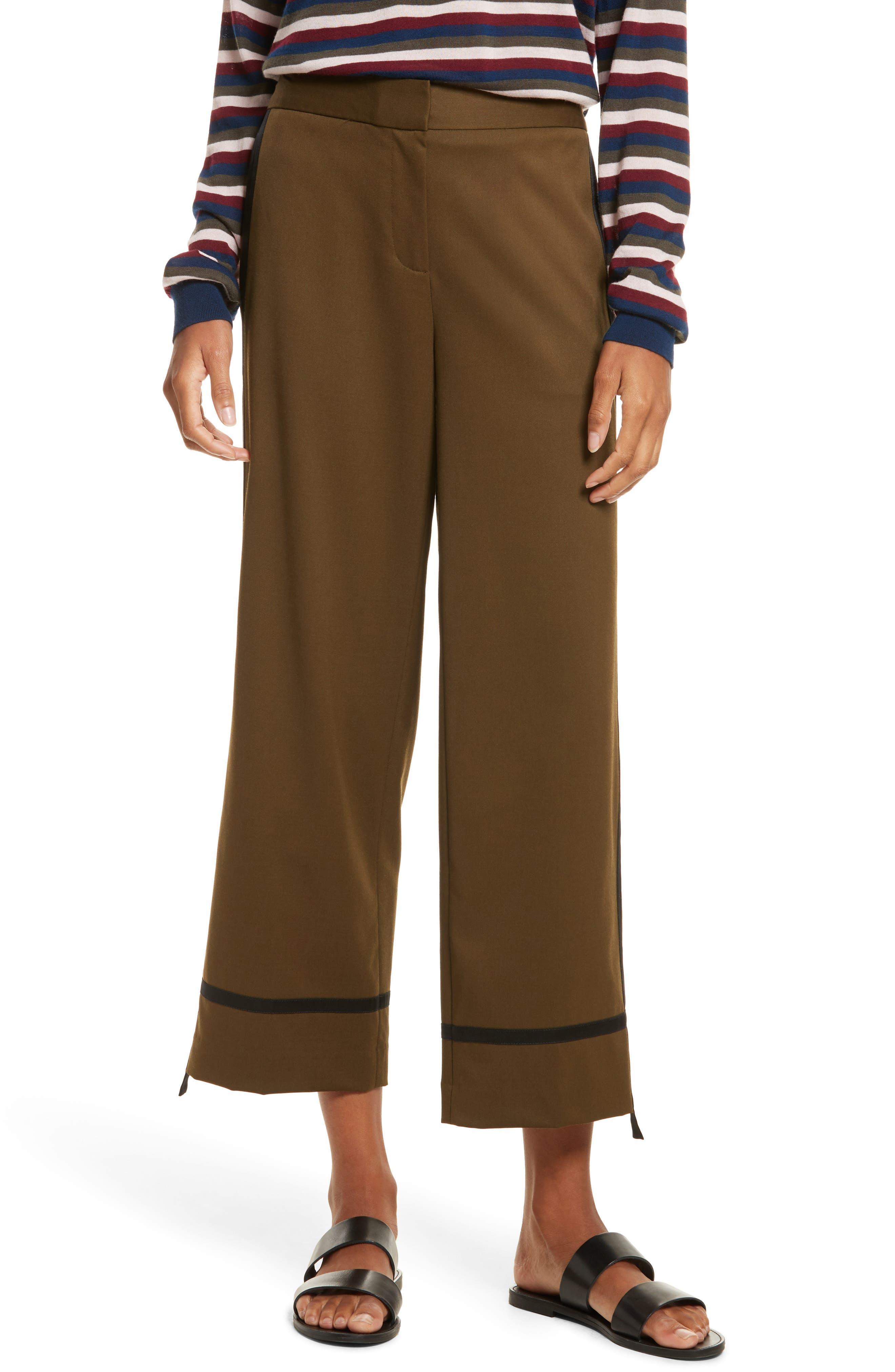 Crop Straight Leg Pants,                         Main,                         color, Olive