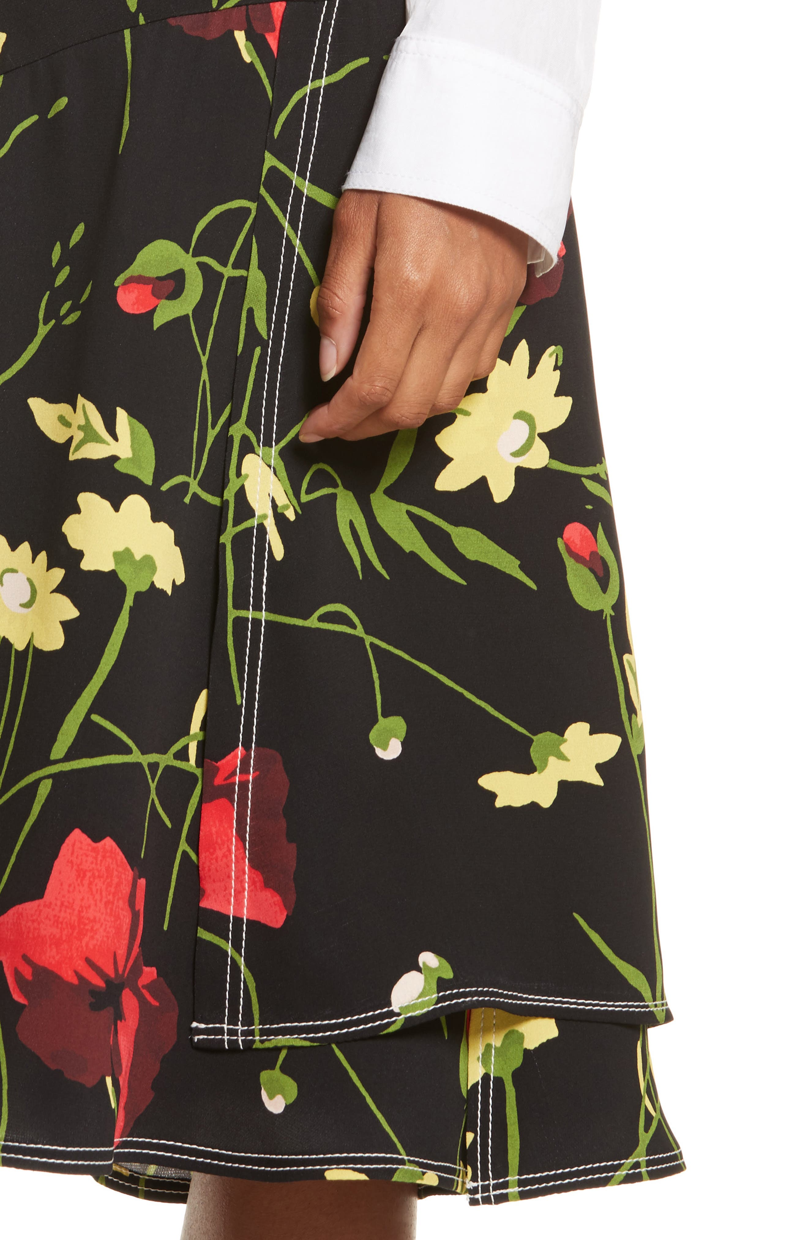 Floral Print Silk Skirt,                             Alternate thumbnail 4, color,                             Black Multi