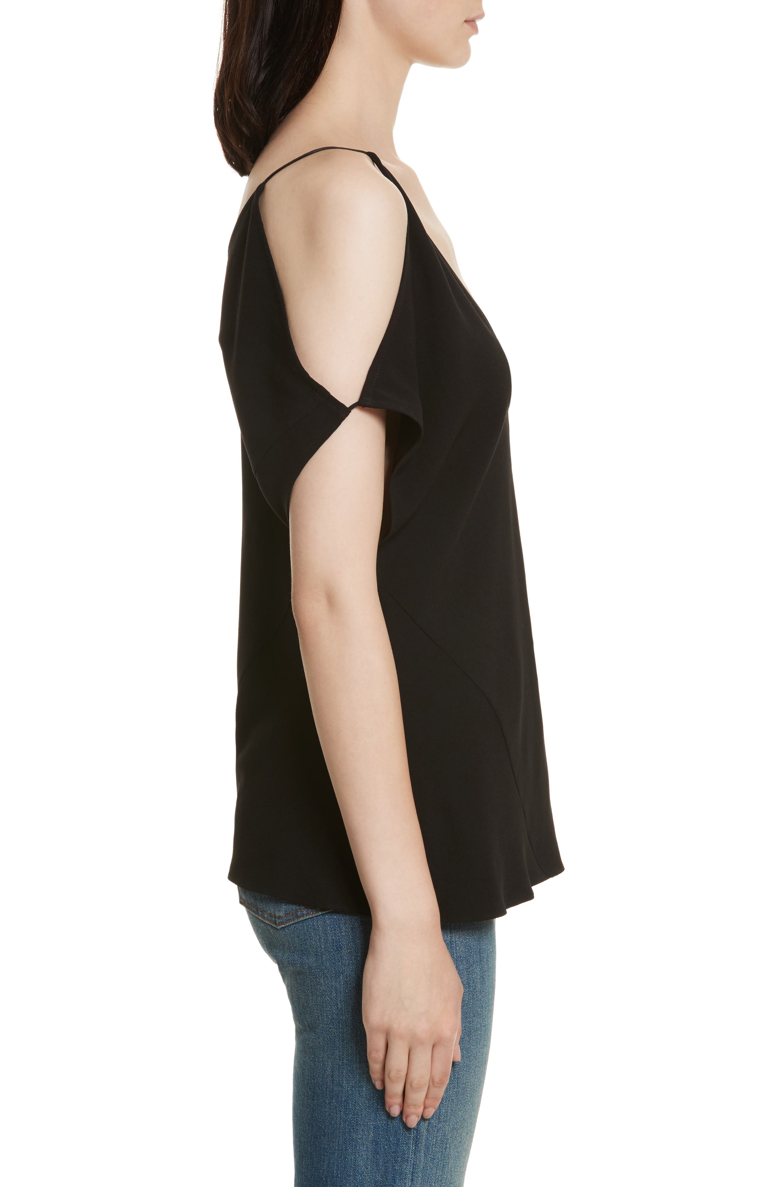 Arimah Bias Cold Shoulder Top,                             Alternate thumbnail 3, color,                             Black