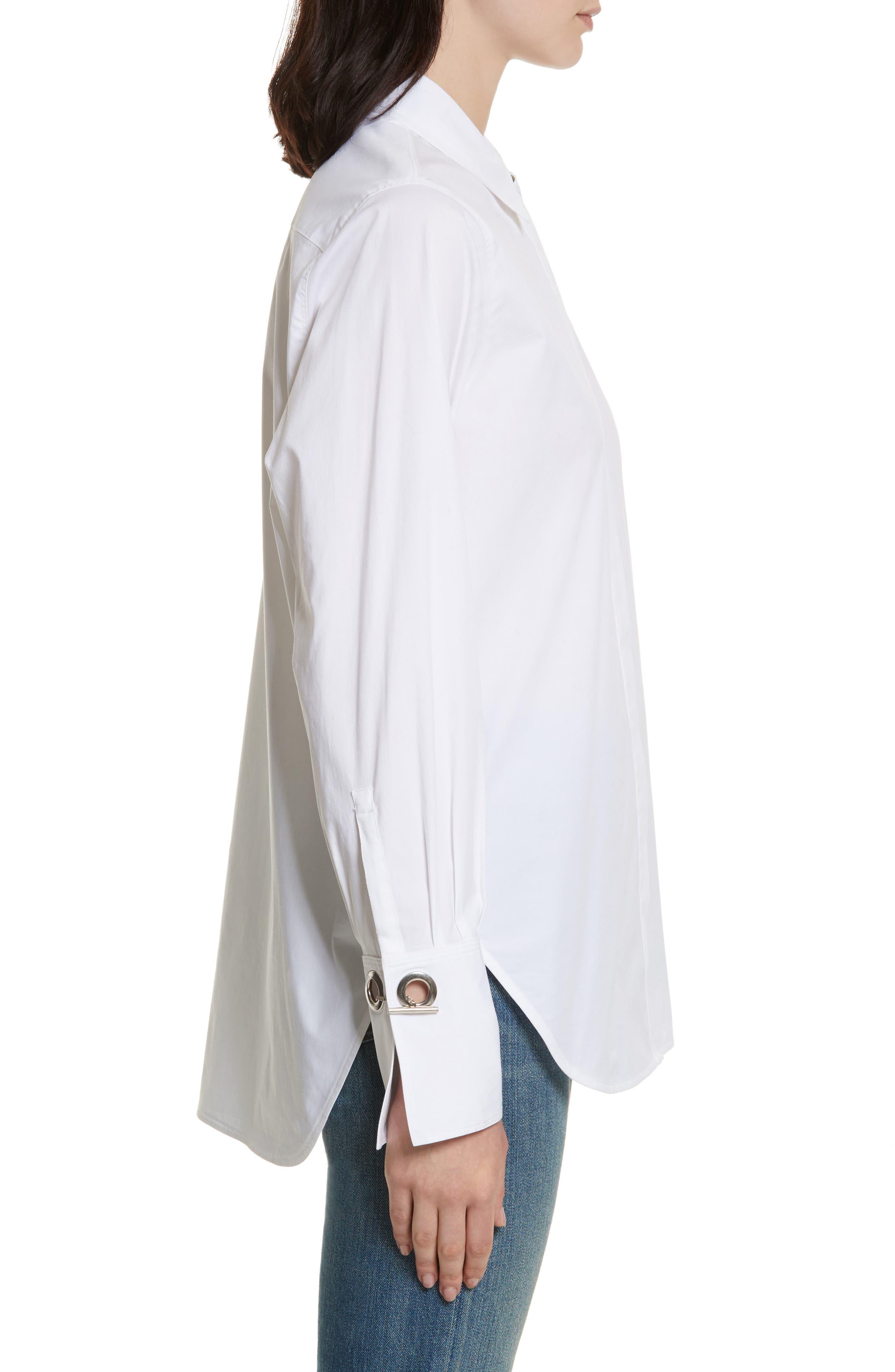 Jasper Stretch Poplin Shirt,                             Alternate thumbnail 3, color,                             White