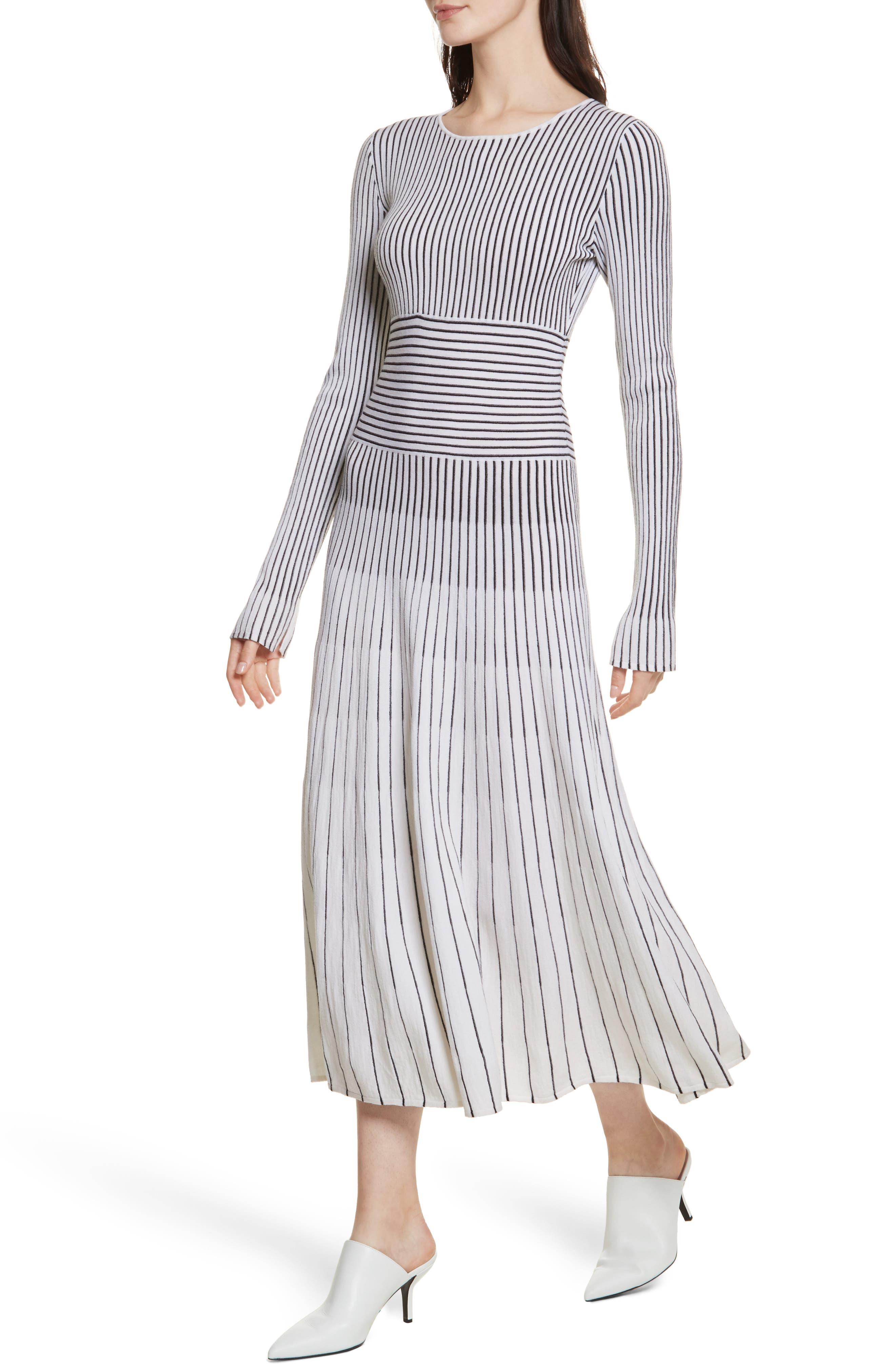 Sheridan Stripe Knit Midi Dress,                             Alternate thumbnail 4, color,                             Ivory/ Black
