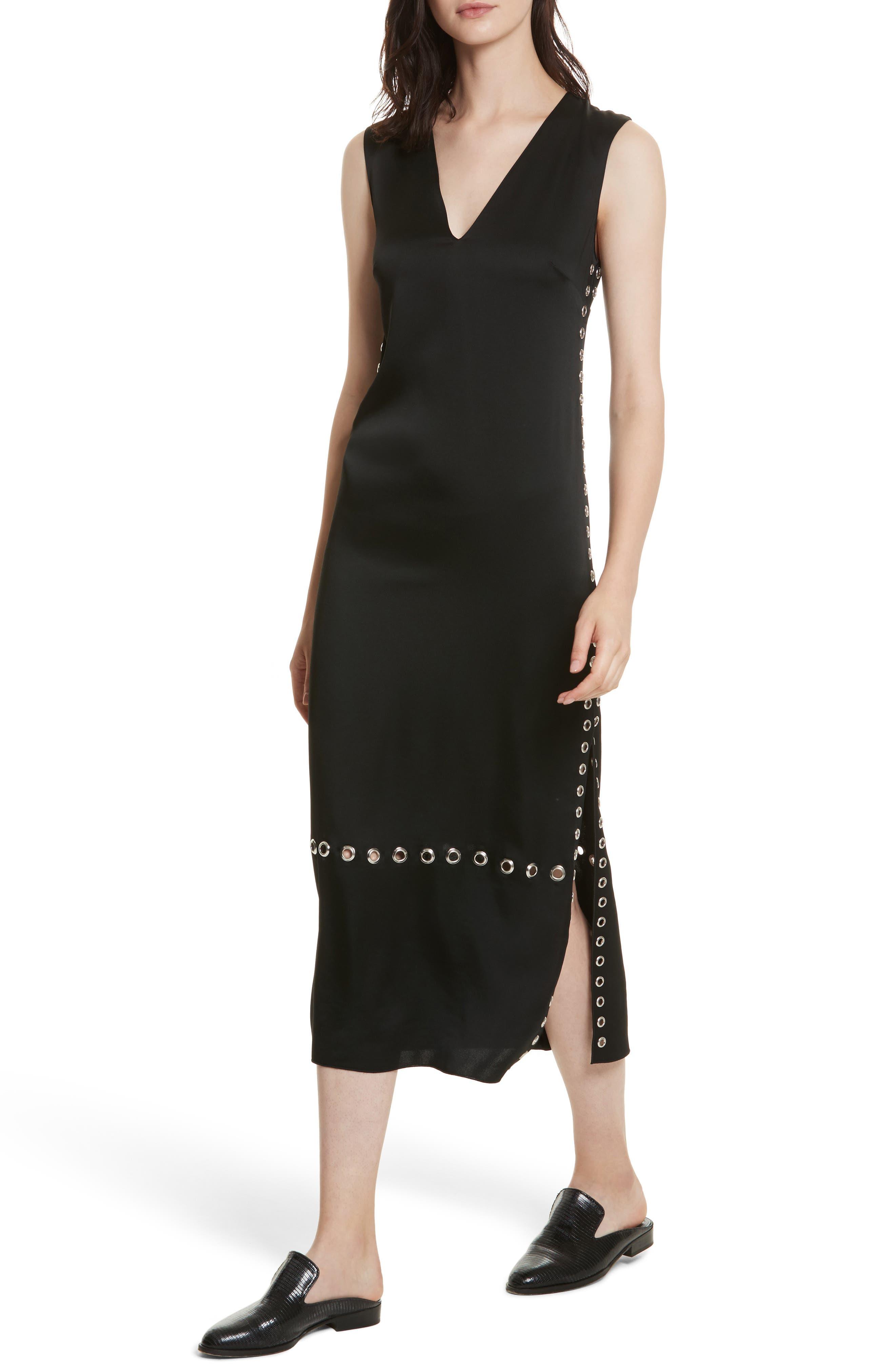 Leigh Grommet Midi Dress,                             Alternate thumbnail 4, color,                             Black