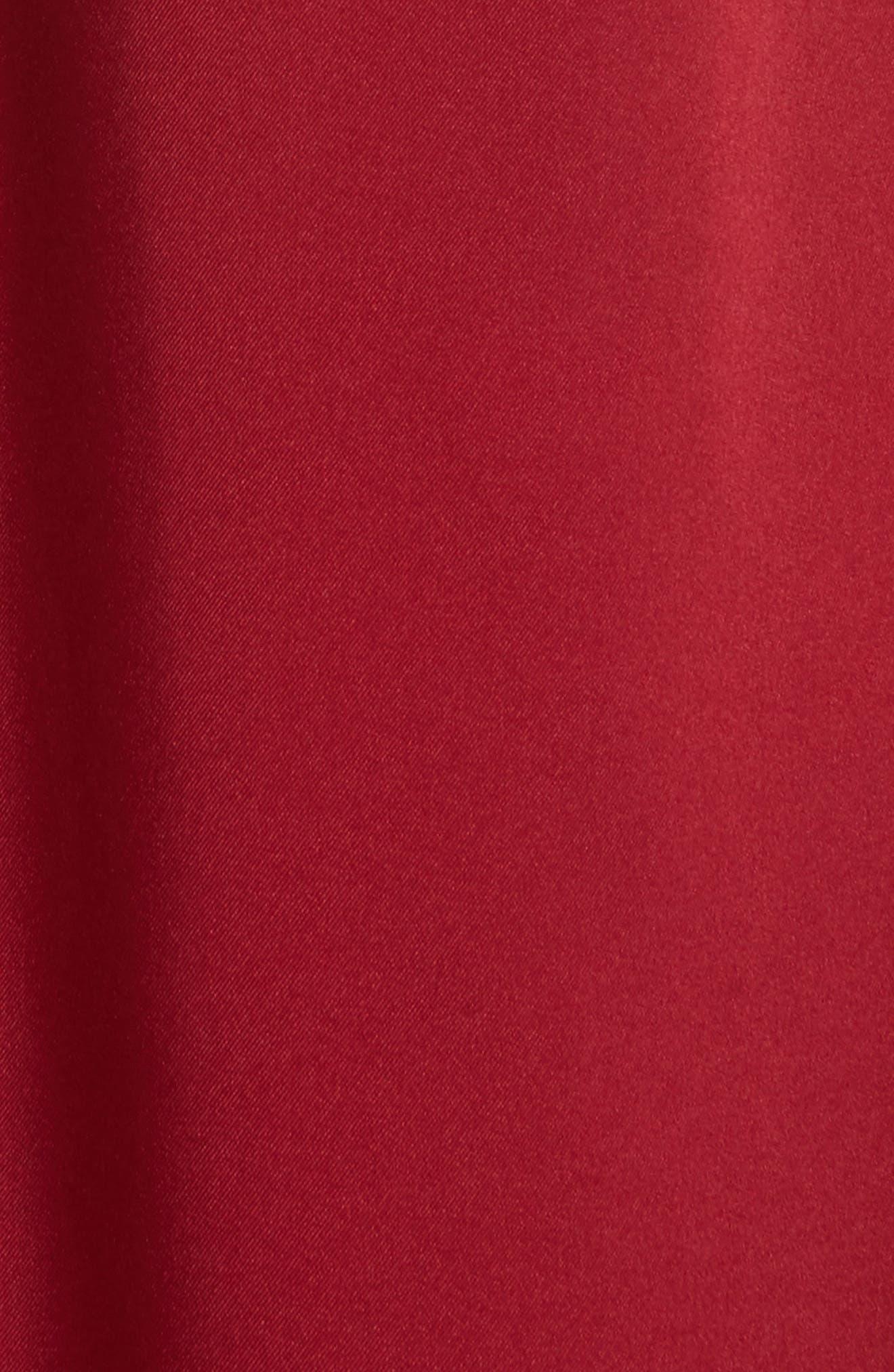 Cavan Twist Neck Satin Dress,                             Alternate thumbnail 5, color,                             Ruby