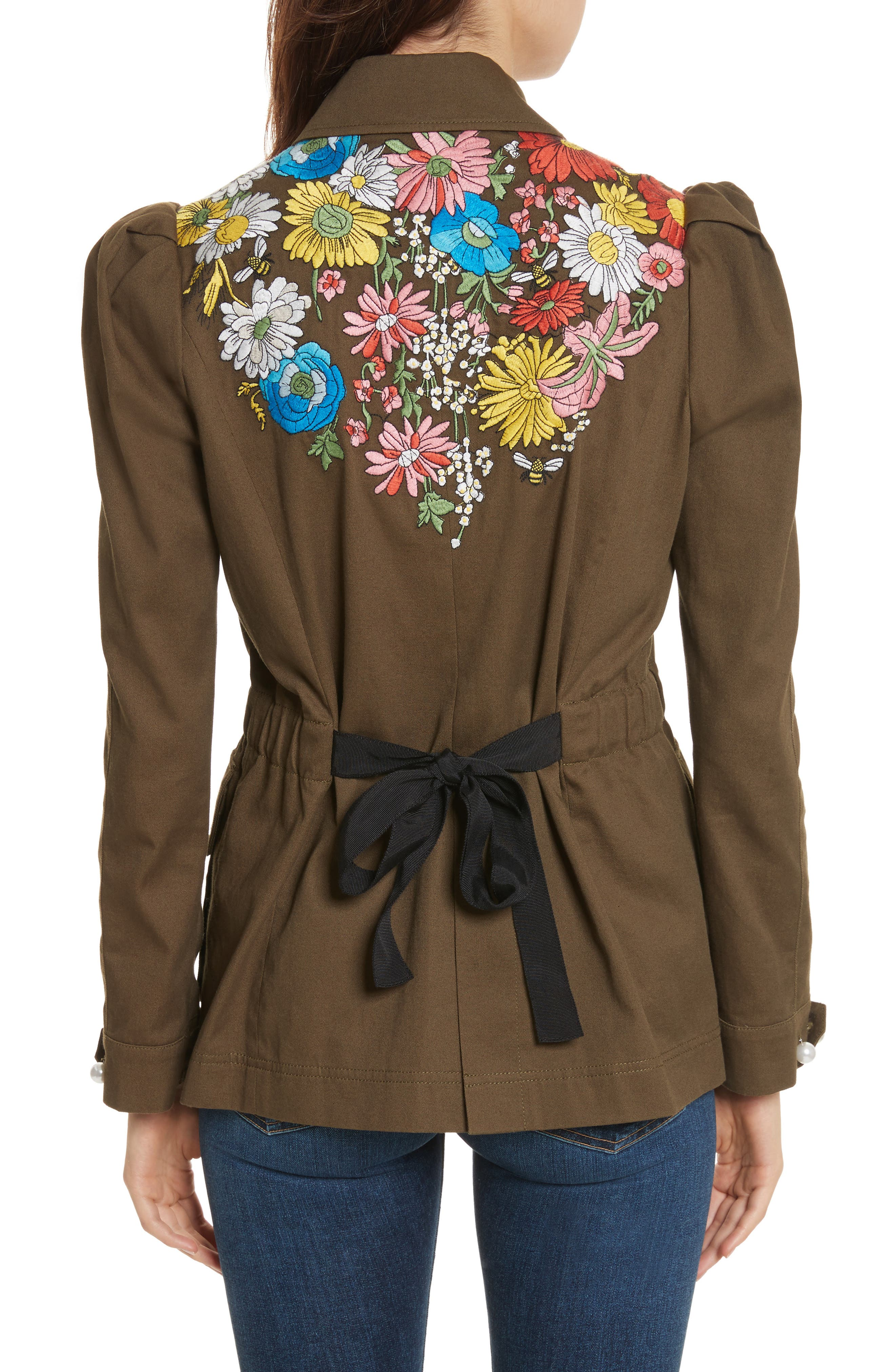 Huxley Floral Embroidered Safari Jacket,                             Alternate thumbnail 2, color,                             Army