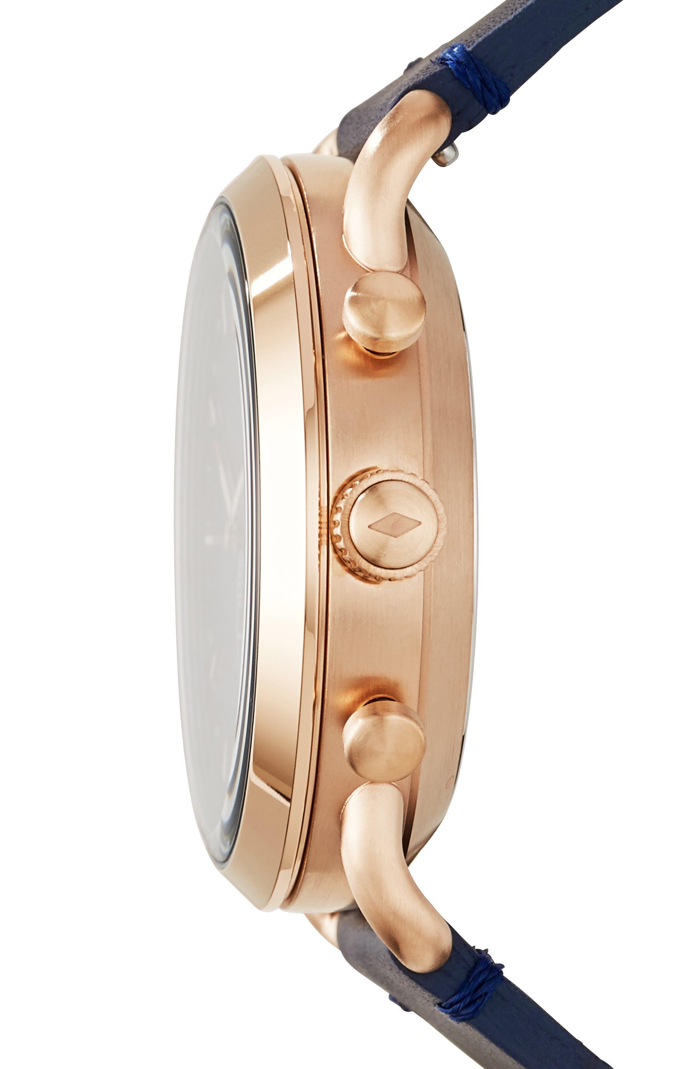 Commuter Leather Strap Hybrid Smart Watch, 42mm,                             Alternate thumbnail 2, color,                             Blue/ Rose Gold