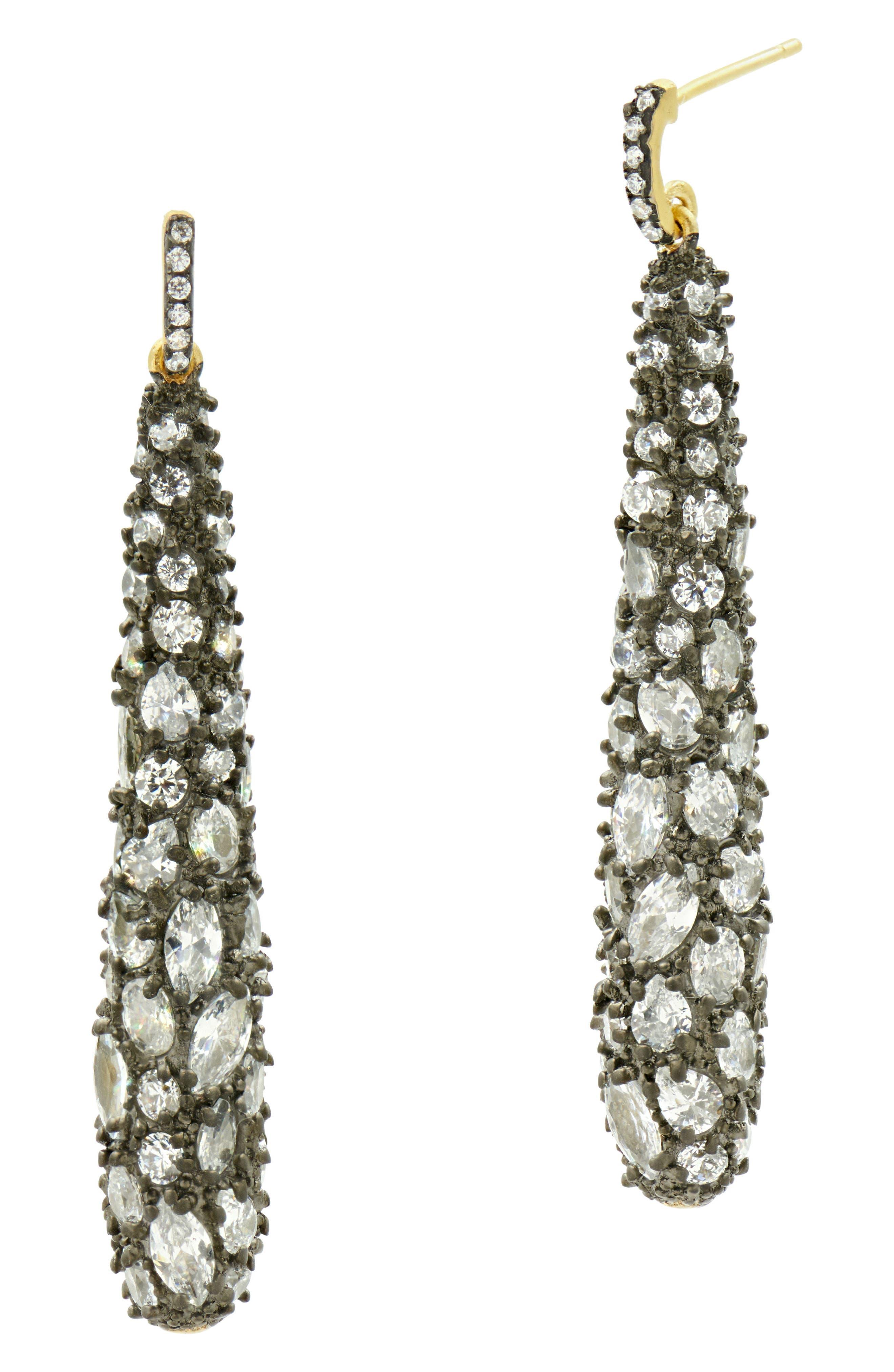 FREIDA ROTHMAN Cubic Zirconia Pavé Drop Earrings