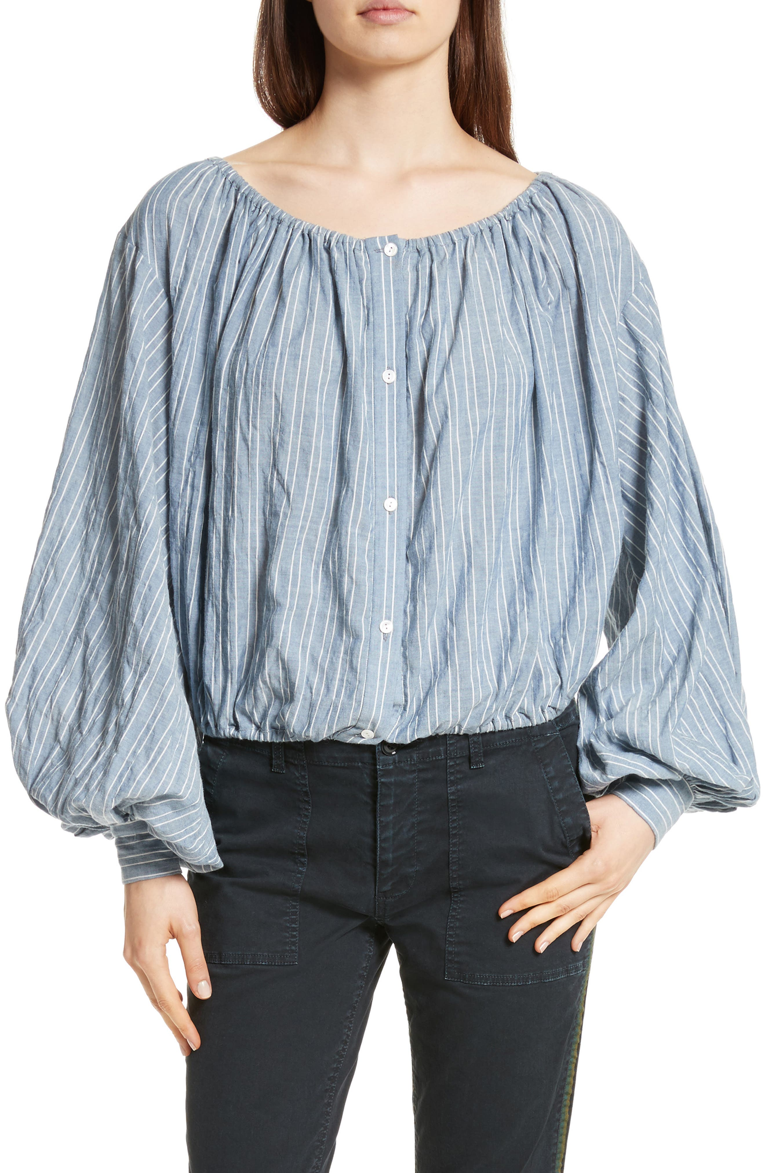 Roxie Chambray Puff Sleeve Blouse,                         Main,                         color, Navy