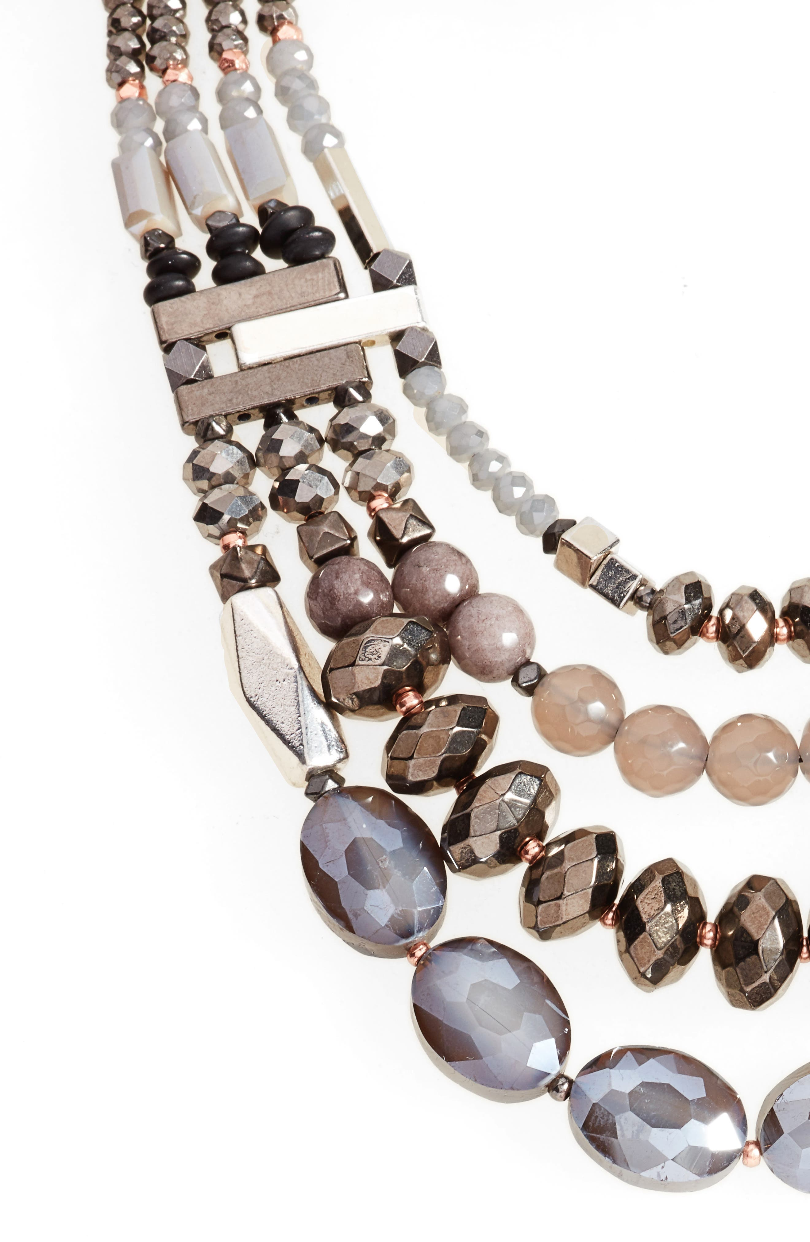 Multistrand Stone Necklace,                         Main,                         color, Silver