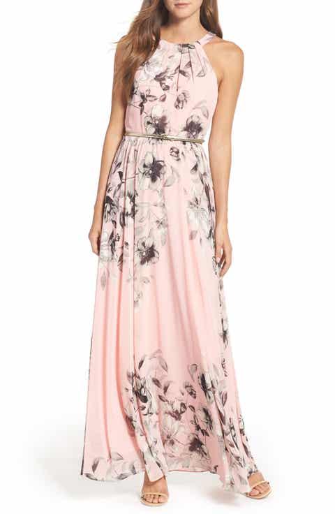 Eliza J Belted Chiffon Maxi Dress Regular Pee