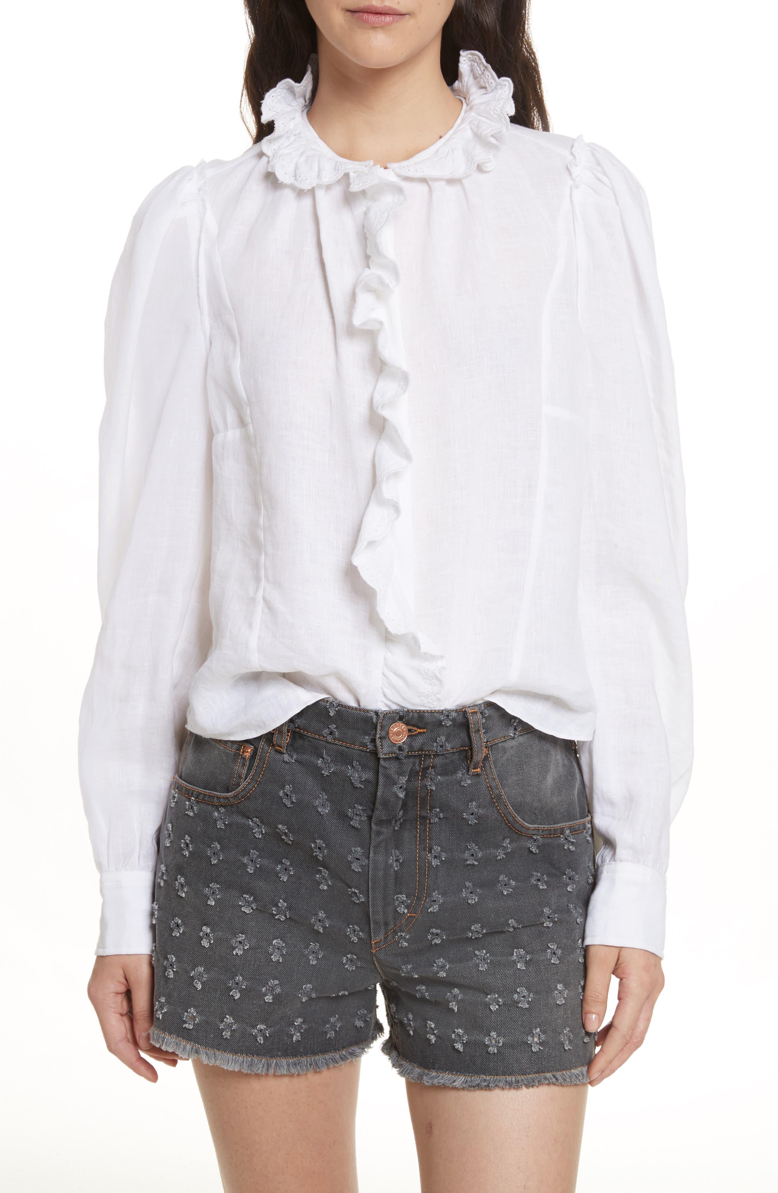 Alternate Image 1 Selected - Isabel Marant Étoile Tauren Broderie Linen Shirt