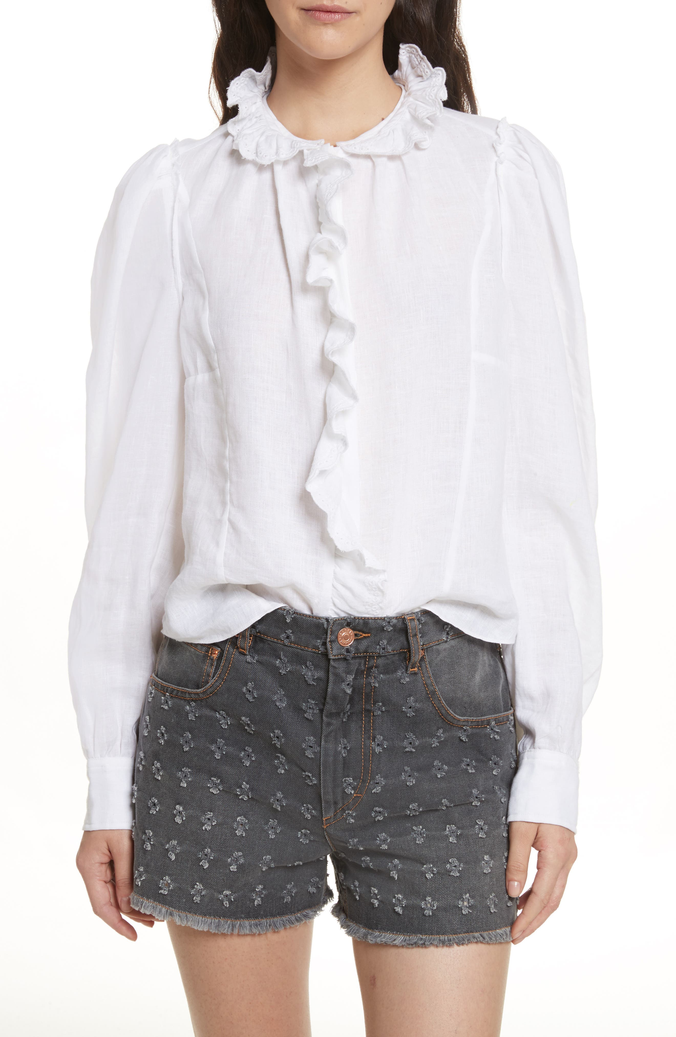 Main Image - Isabel Marant Étoile Tauren Broderie Linen Shirt