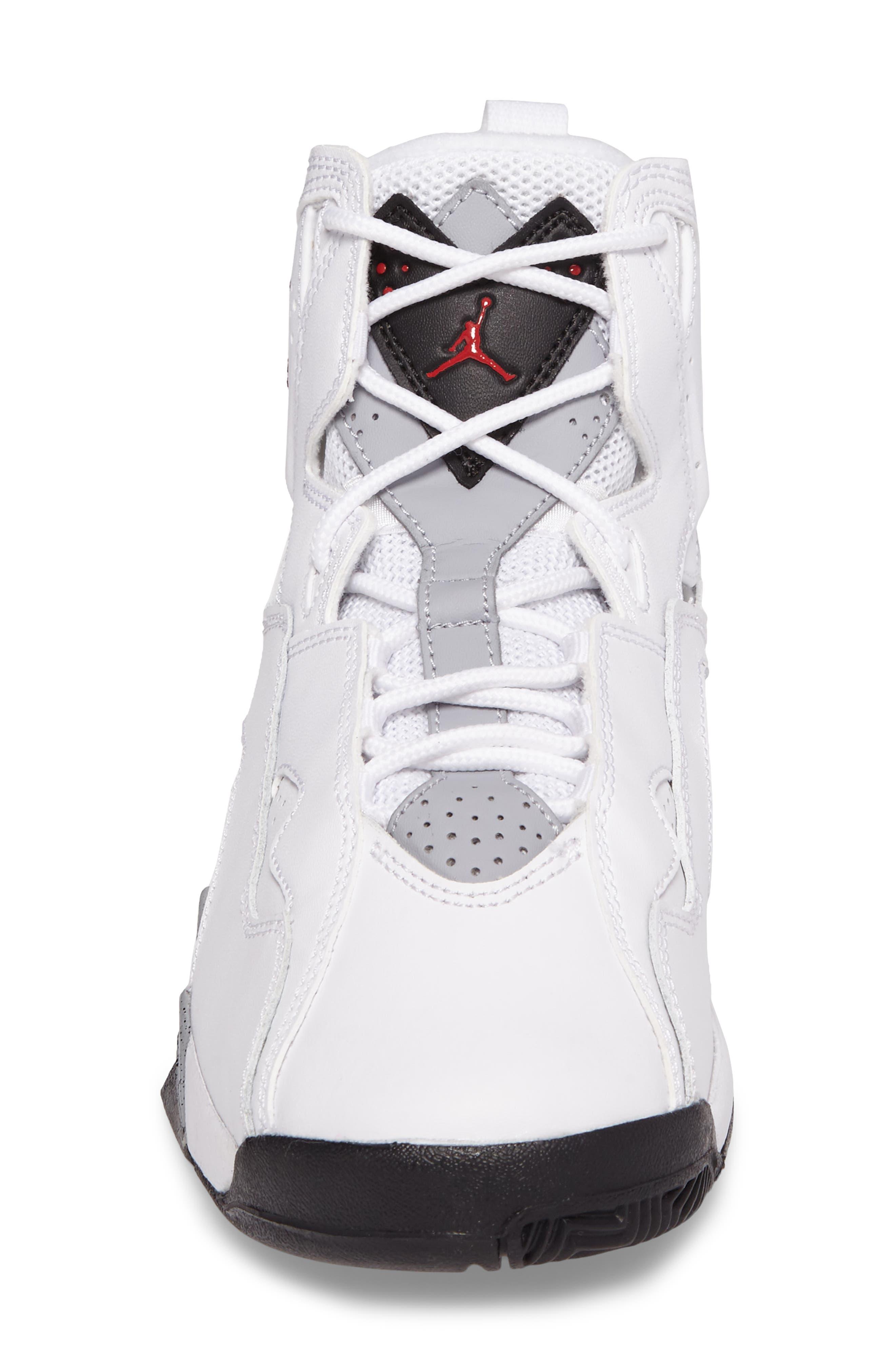 True Flight BG High Top Sneaker,                             Alternate thumbnail 4, color,                             White/ Gym Red/ Wolf Grey